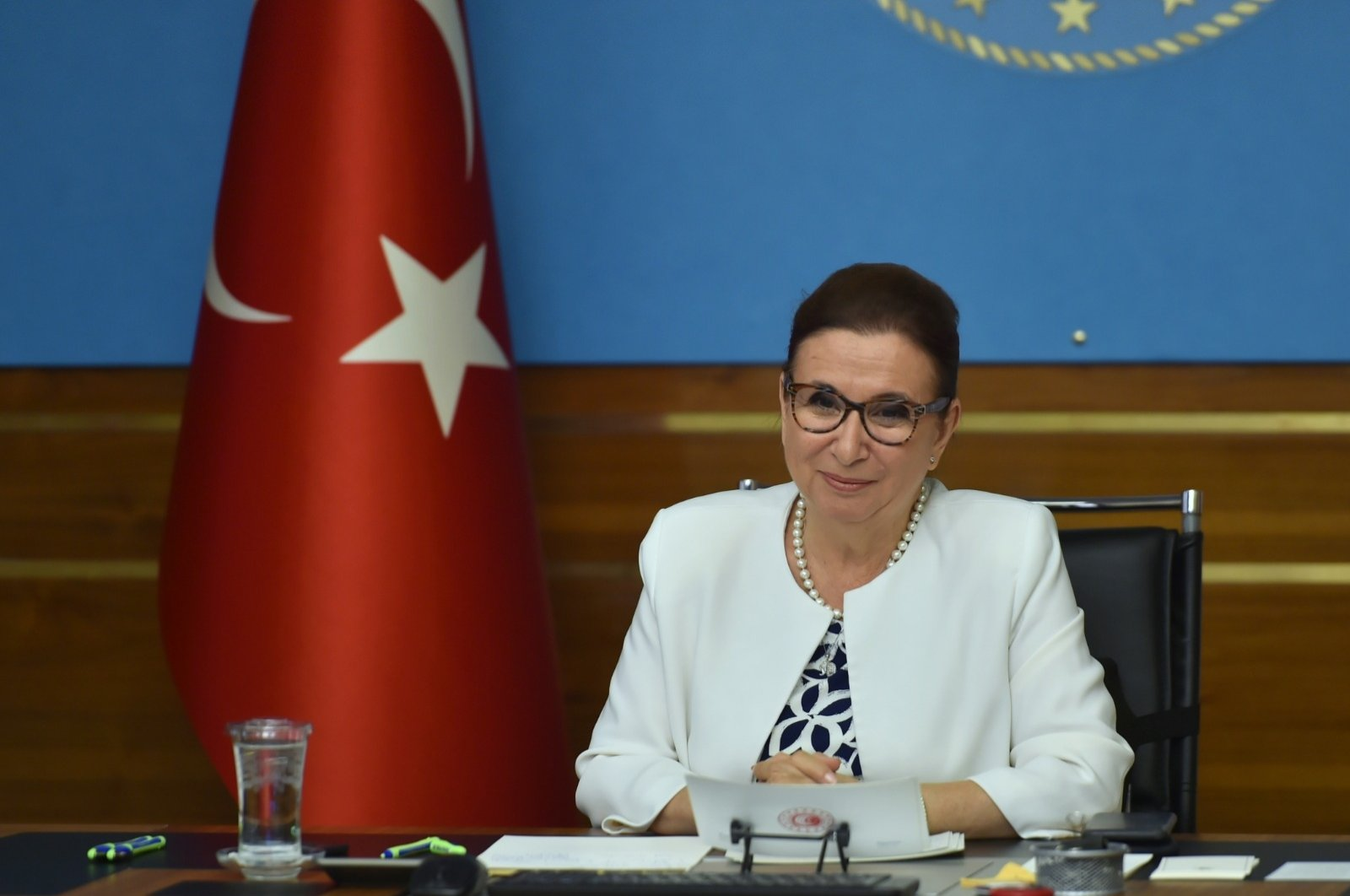 Turkey's Trade Minister Ruhsar Pekcan attends a videoconference in capital Ankara, July 30, 2020. (DHA Photo)