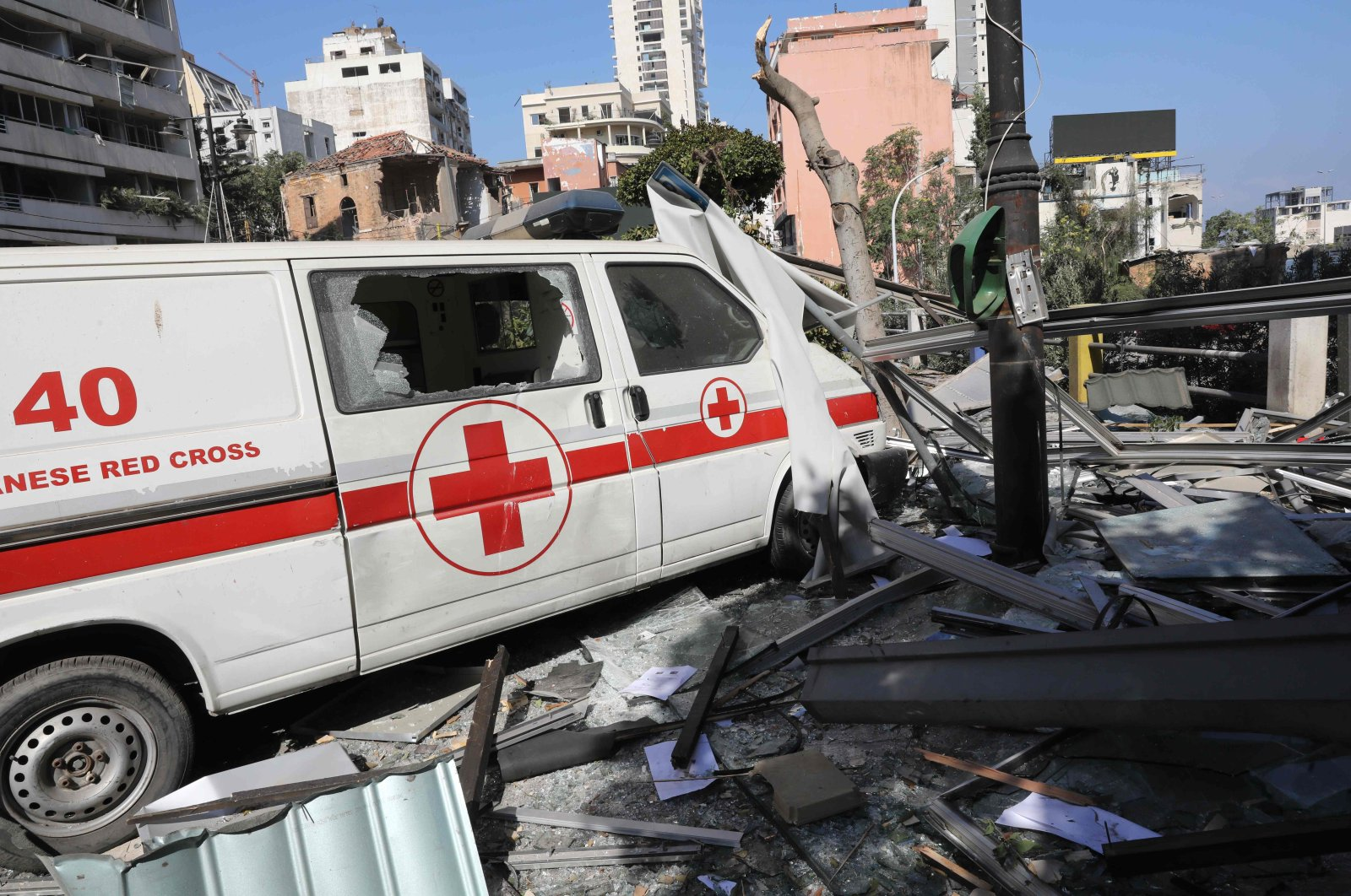 An emergency command vehicle of the Lebanese Red Cross is pictured in the aftermath of yesterday's blast that tore through Lebanon's capital and resulted from the ignition of a huge depot of ammonium nitrate at Beirut's port, on Aug. 5, 2020. (AFP Photo)