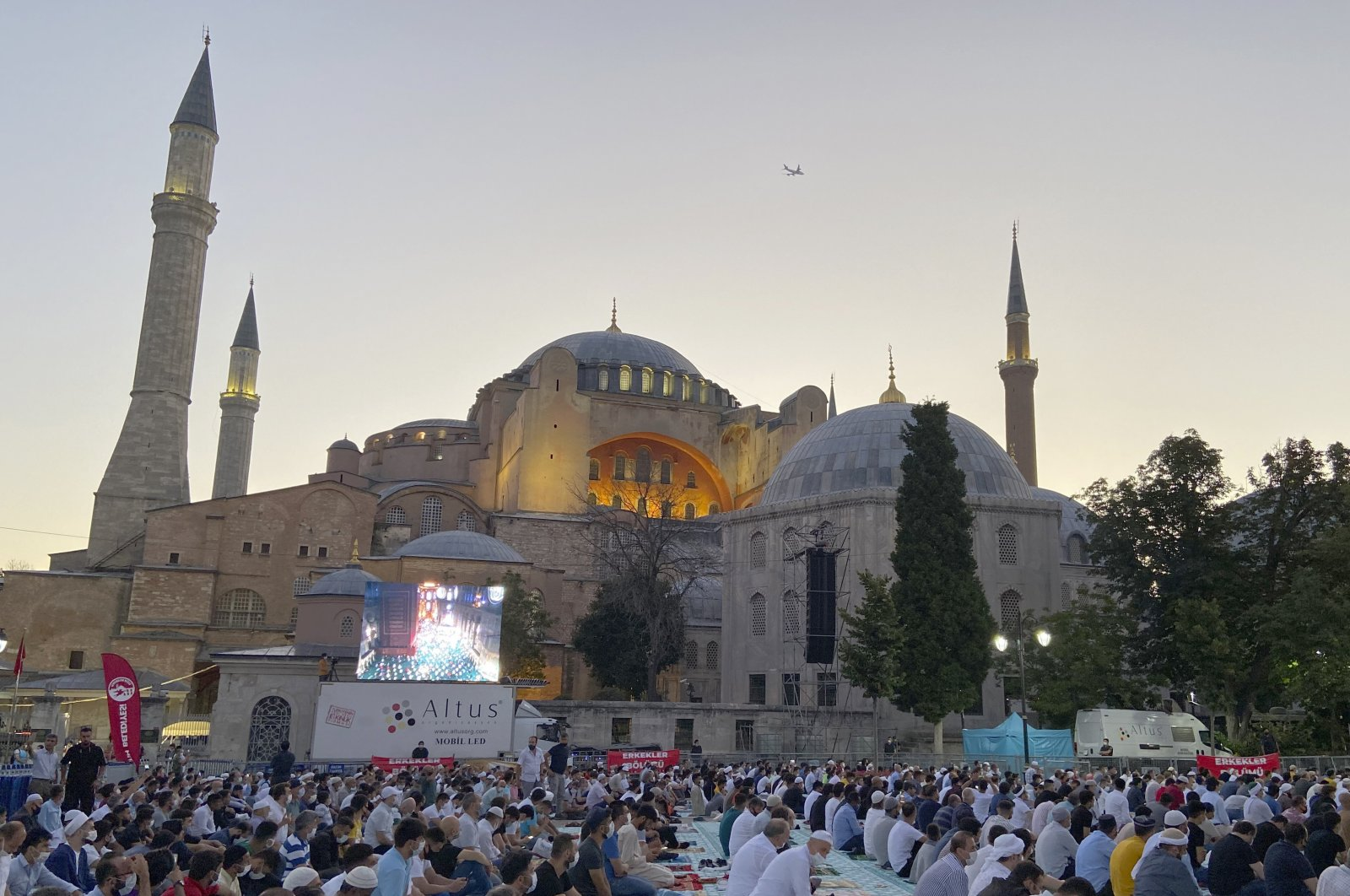 Hundreds of faithful gather early in the morning outside the iconic Hagia Sophia Grand Mosque for Qurban Bayram prayers, in Istanbul, Turkey, July 31, 2020. (AP Photo)