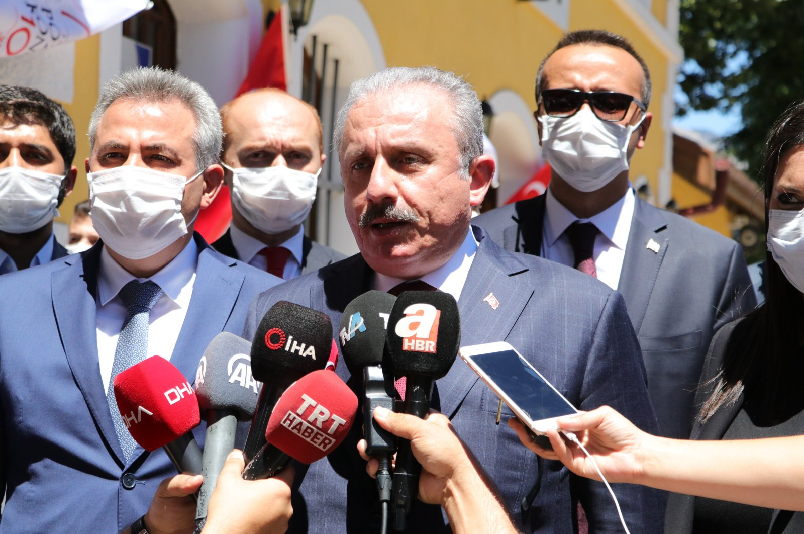 Parliament Head Mustafa Şentop speaks to journalists after a ceremony for the 100th year of the Pozantı Congress in southern Adana province, Turkey, Aug. 5, 2020. (IHA Photo)