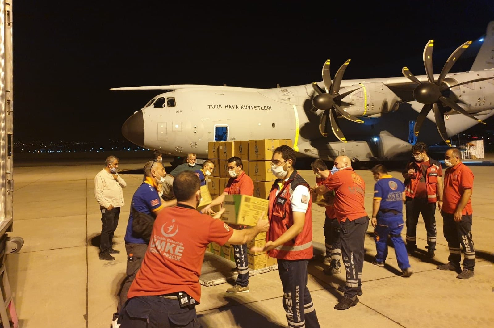 Humanitarian aid is loaded onto a Turkish military plane in Ankara, Aug 5, 2020. (Turkish Defense Ministry/Twitter)
