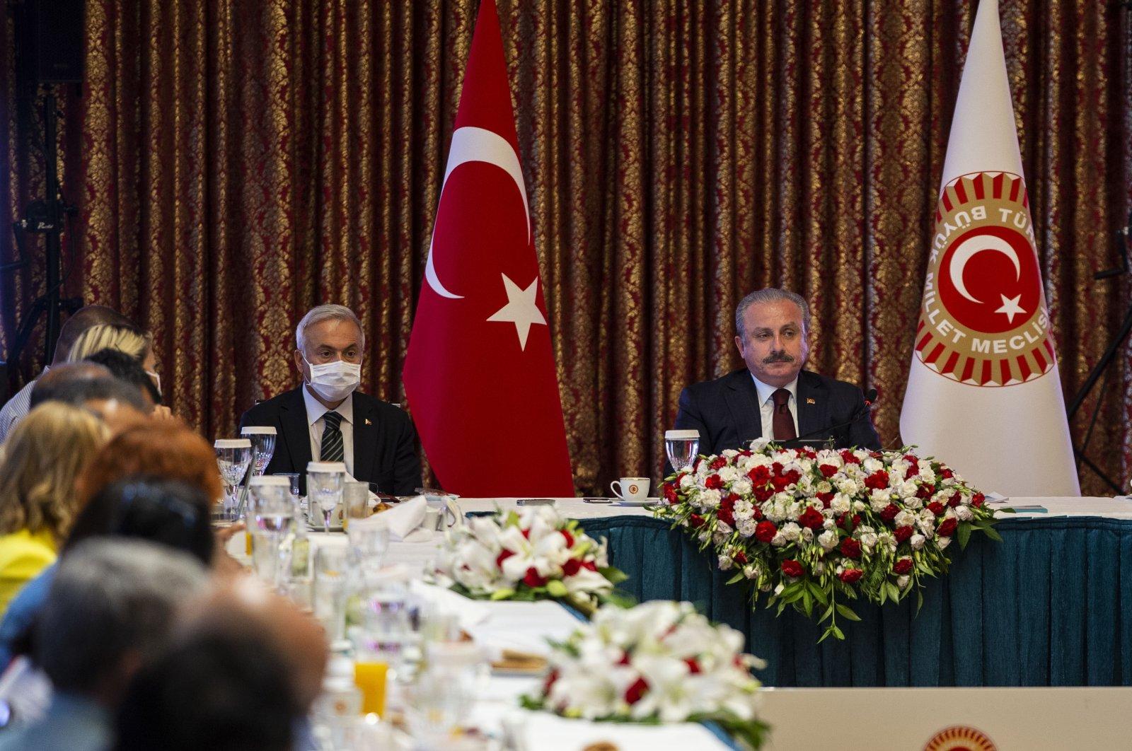 Speaker Mustafa Şentop gives a speech during a parliamentary meeting in Ankara, Turkey on Aug. 6, 2020. (AA Photo)