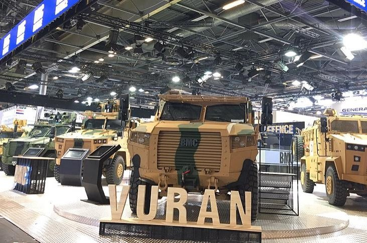 Vuran tactical wheeled armored vehicles showcased at Eurosatory international defense and security fair, Paris, France, June 2018. (AA Photo)