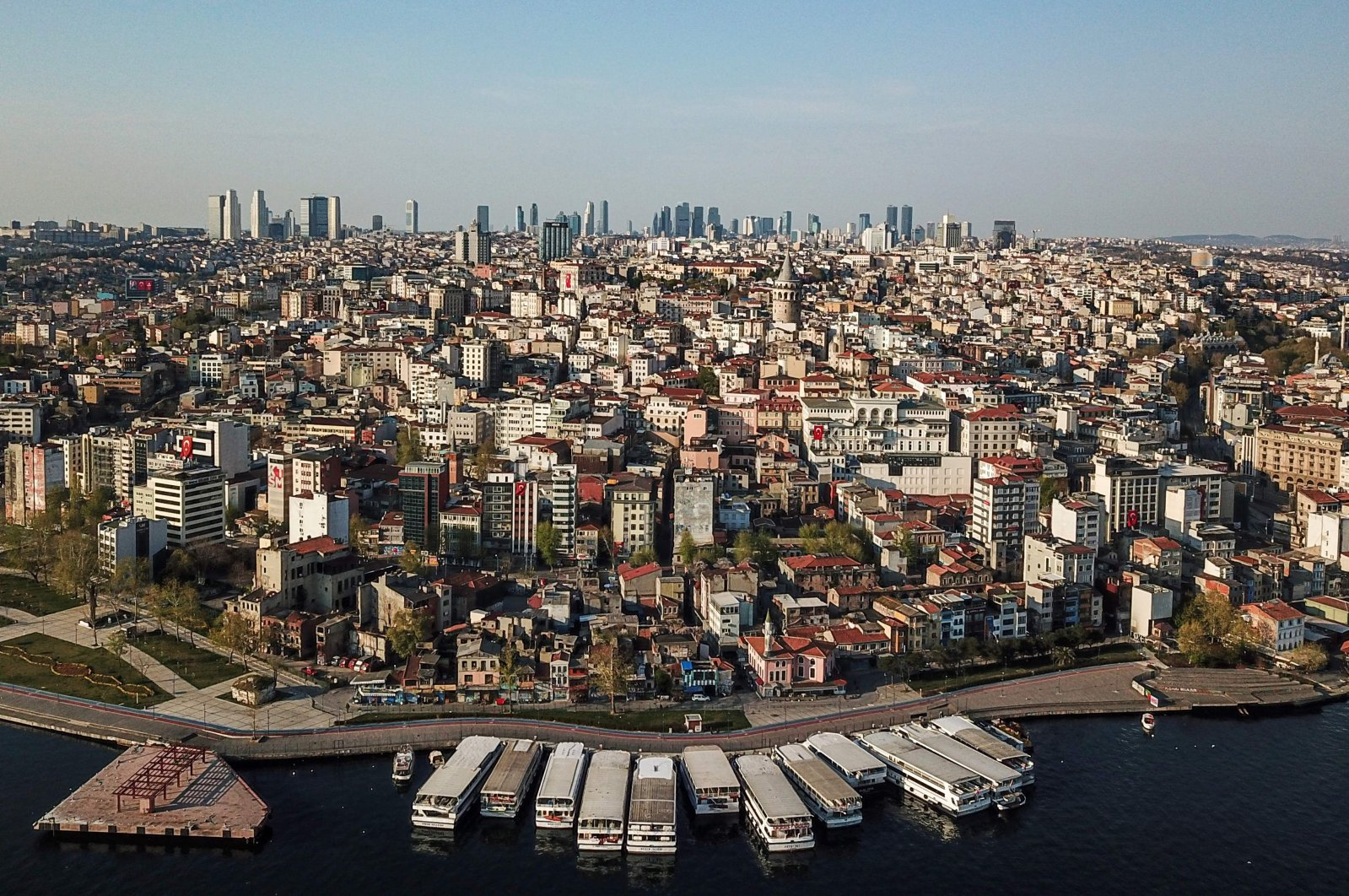 An aerial view of the Galata tower (C) and the Beyoğlu district in Istanbul, April 26, 2020. (AFP Photo)