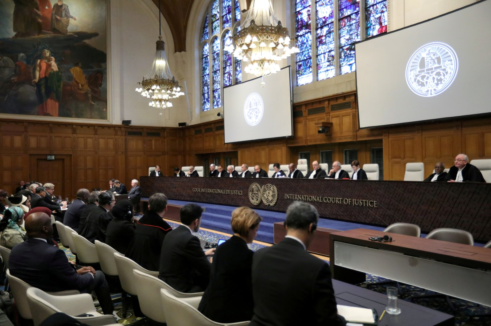 General view of the court during the ruling in a case filed by Gambia against Myanmar alleging genocide against the minority Muslim Rohingya population, at the International Court of Justice (ICJ) in The Hague, Netherlands on Jan. 23, 2020. (Reuters Photo)