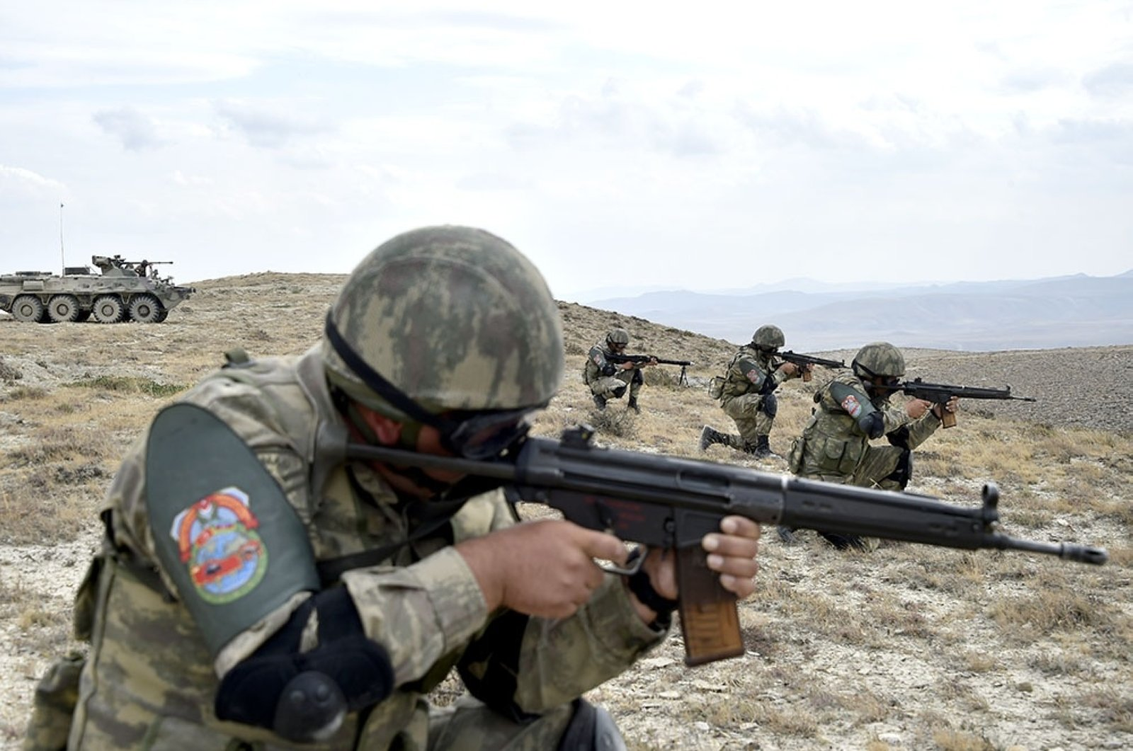 Soldiers take aim during the Turkey-Azerbaijan joint military drills in Baku, Azerbaijan, Aug. 6, 2020. (AA Photo)