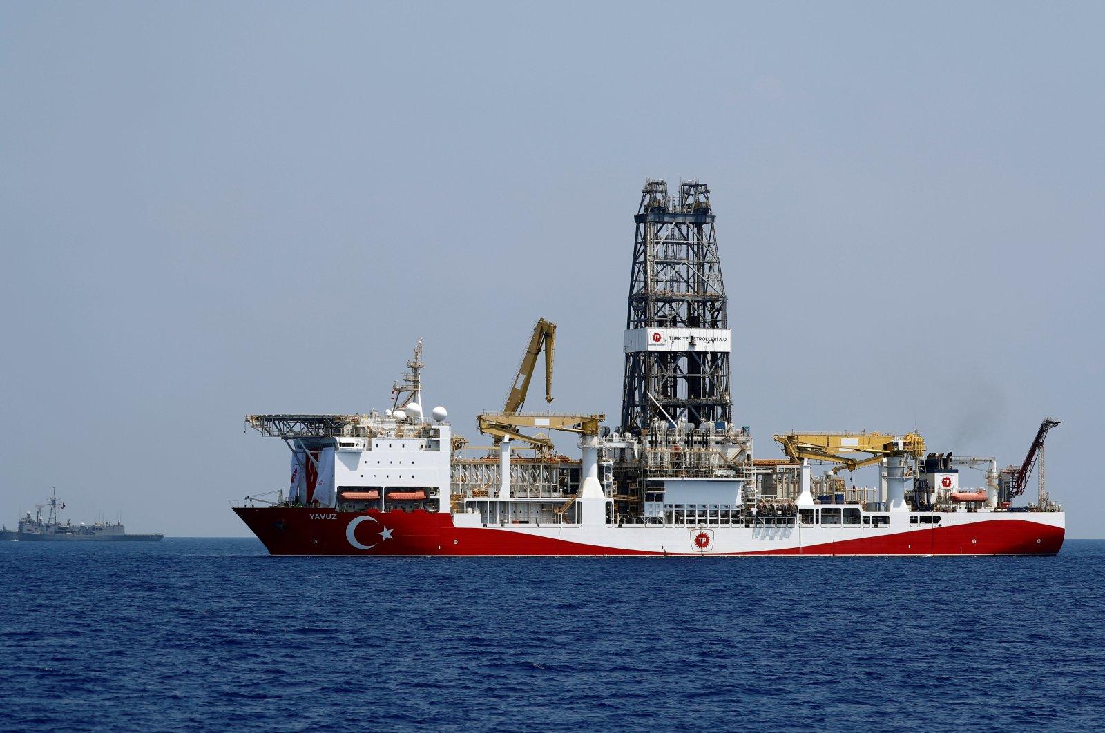 The Turkish drilling vessel, Yavuz, is escorted by Turkish navy frigate TCG Gemlik (F-492) in the Eastern Mediterranean Sea off the island of Cyprus, Aug. 6, 2019. (Reuters Photo)