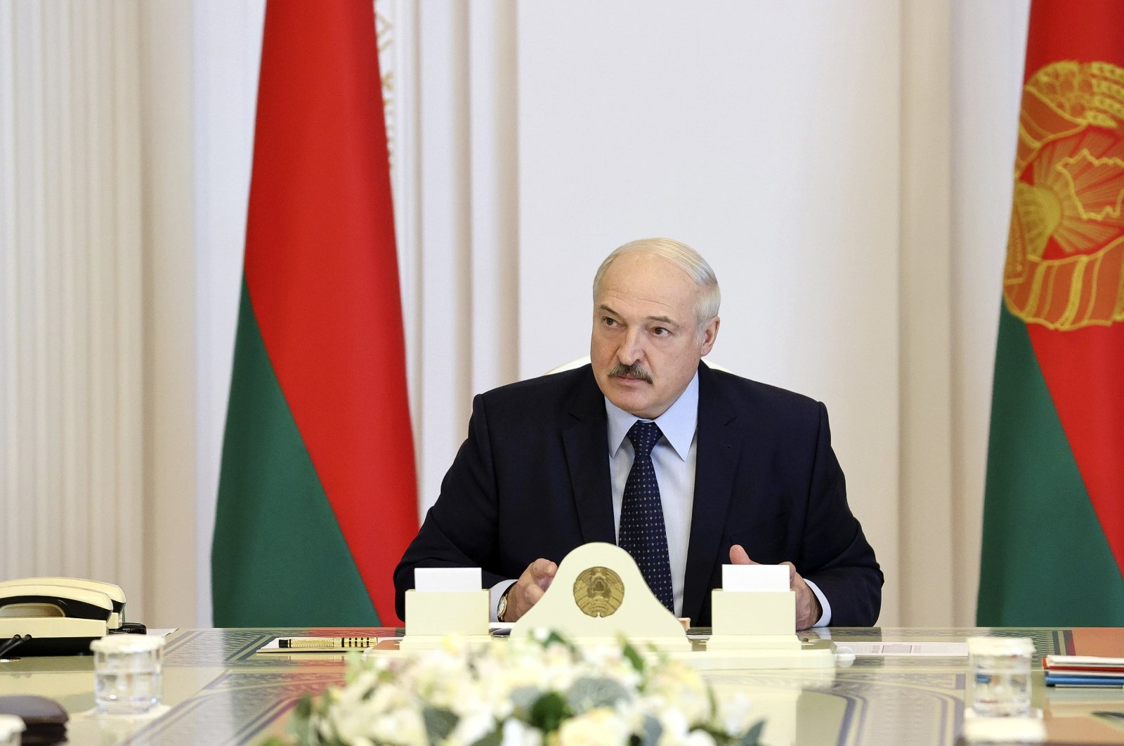 Belarusian President Alexander Lukashenko attends a meeting to discuss ensuring security during the election campaign, Minsk, Belarus, Aug. 6, 2020. (AP Photo)