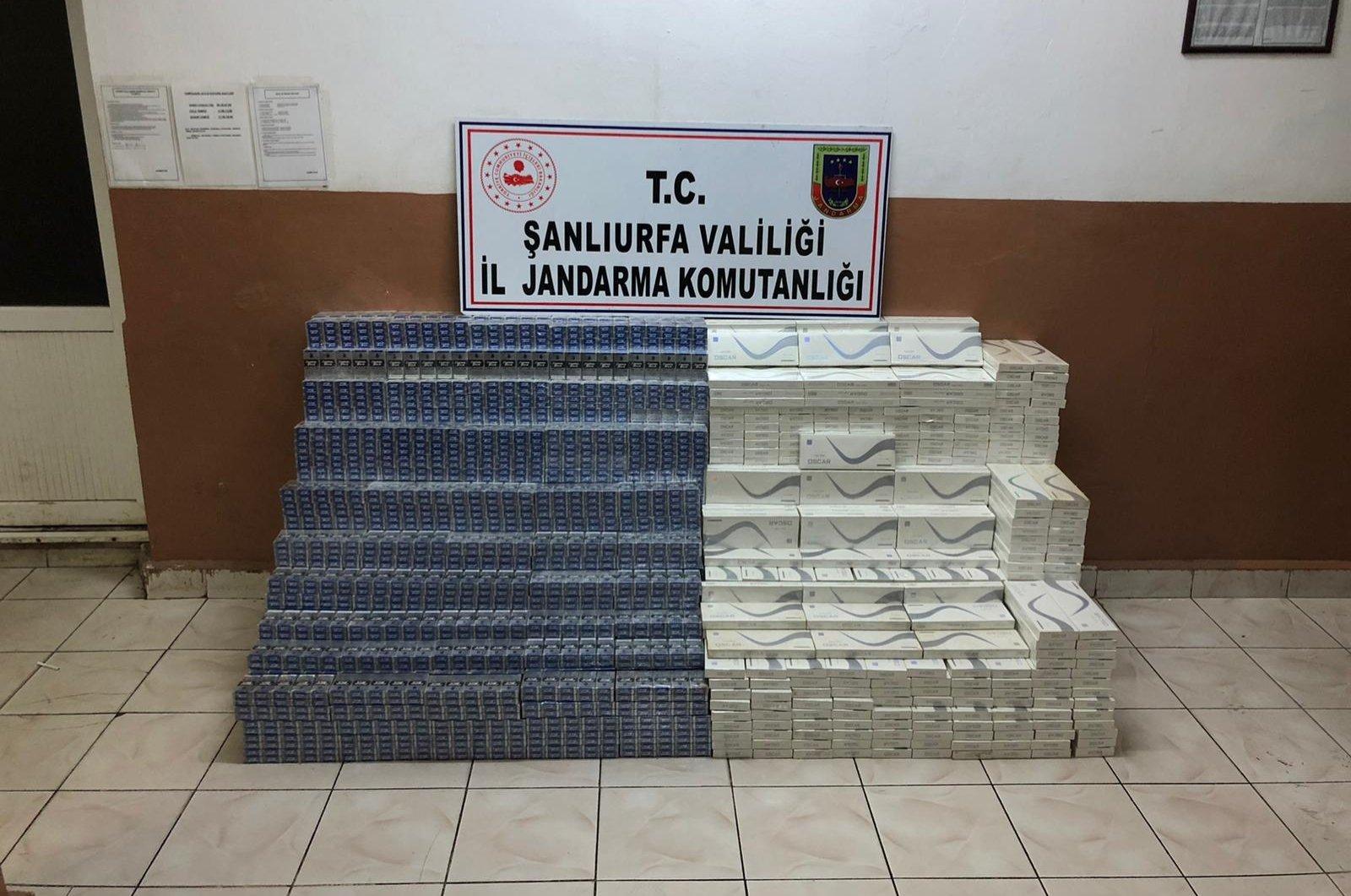 Smuggled cigarettes on display at Şanlıurfa Gendarmerie Command headquarters, in Şanlıurfa, southeastern Turkey, Aug. 7, 2020. (AA Photo)
