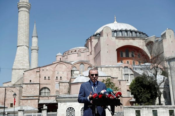 President Recep Tayyip Erdoğan talks to media after attending Friday prayers at Hagia Sophia Grand Mosque in Istanbul, Aug.7, 2020. (REUTERS Photo)