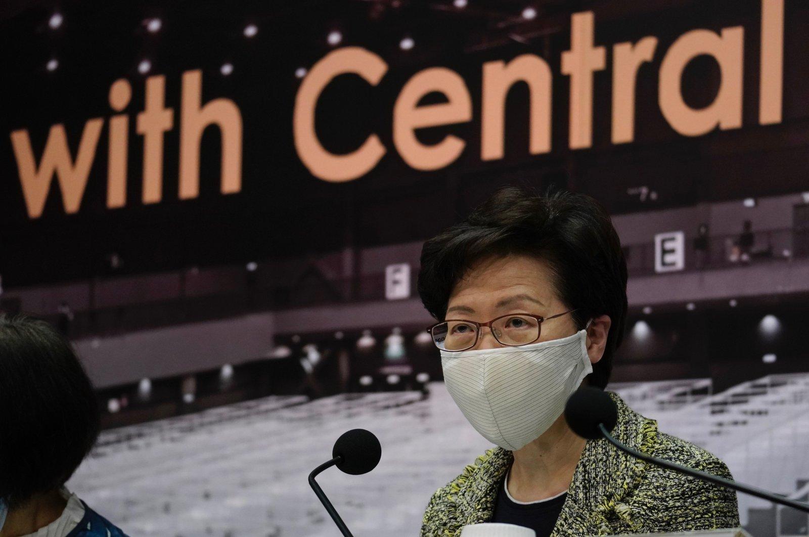 Hong Kong Chief Executive Carrie Lam during a press conference in Hong Kong, Aug. 7, 2020. (AP Photo)