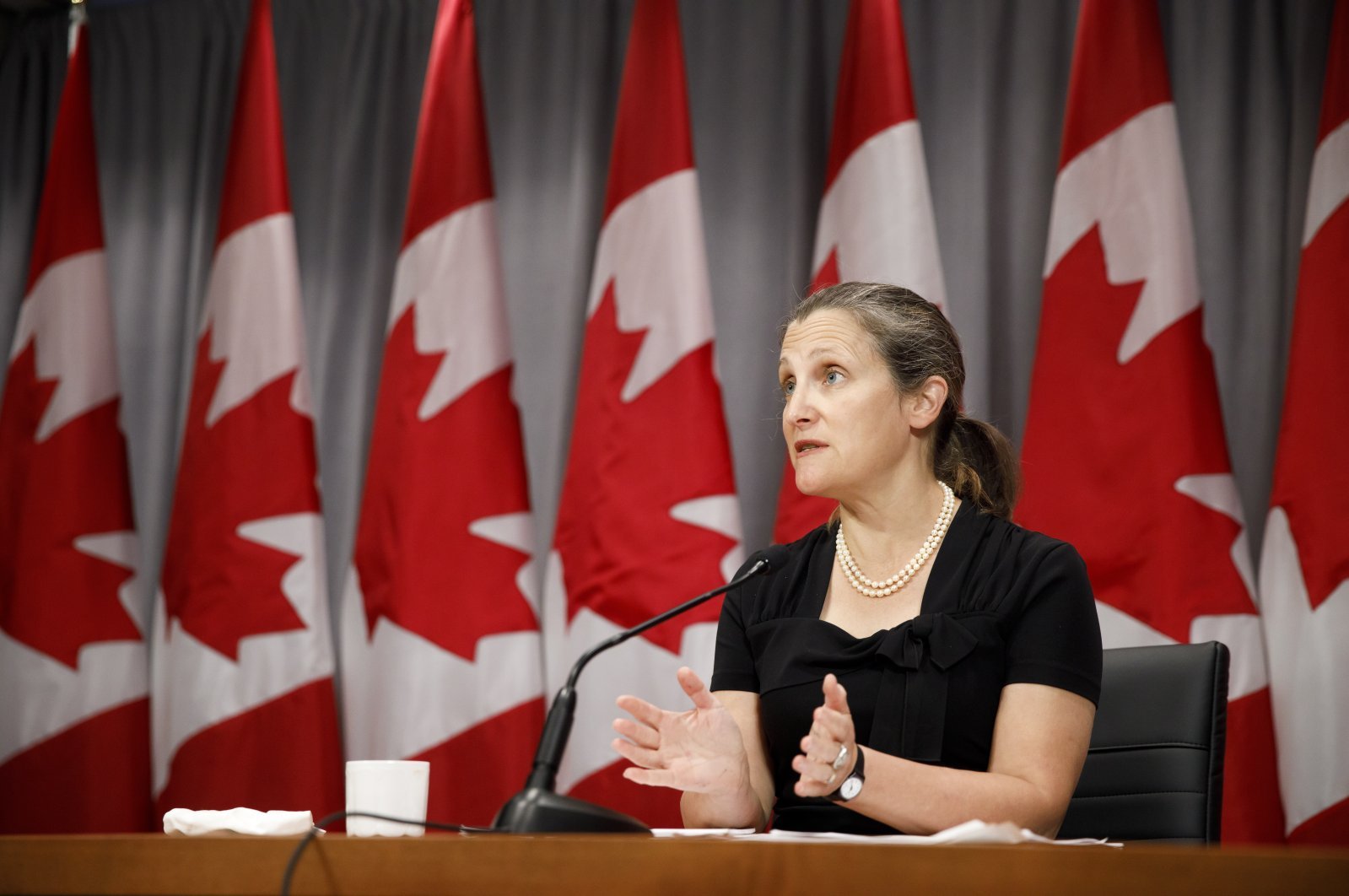 Canada's Deputy Prime Minister Chrystia Freeland speaks during a news conference in Toronto, Aug. 7, 2020. (The Canadian Press via AP)