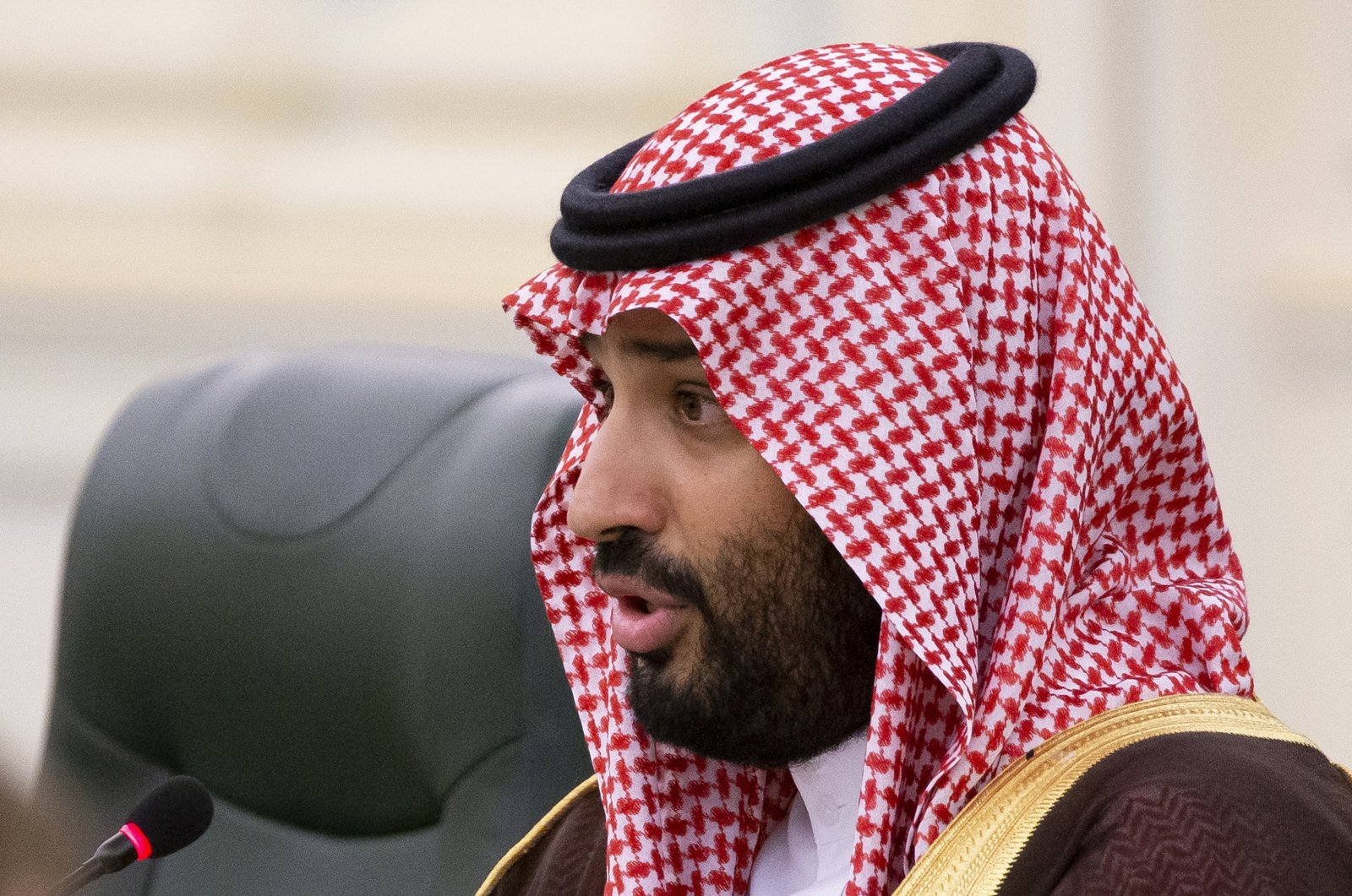 Saudi Arabia's Crown Prince M. bin Salman speaks to Russian President Vladimir Putin during talks in Riyadh, Saudi Arabia on Oct. 14, 2019. (AP Photo)
