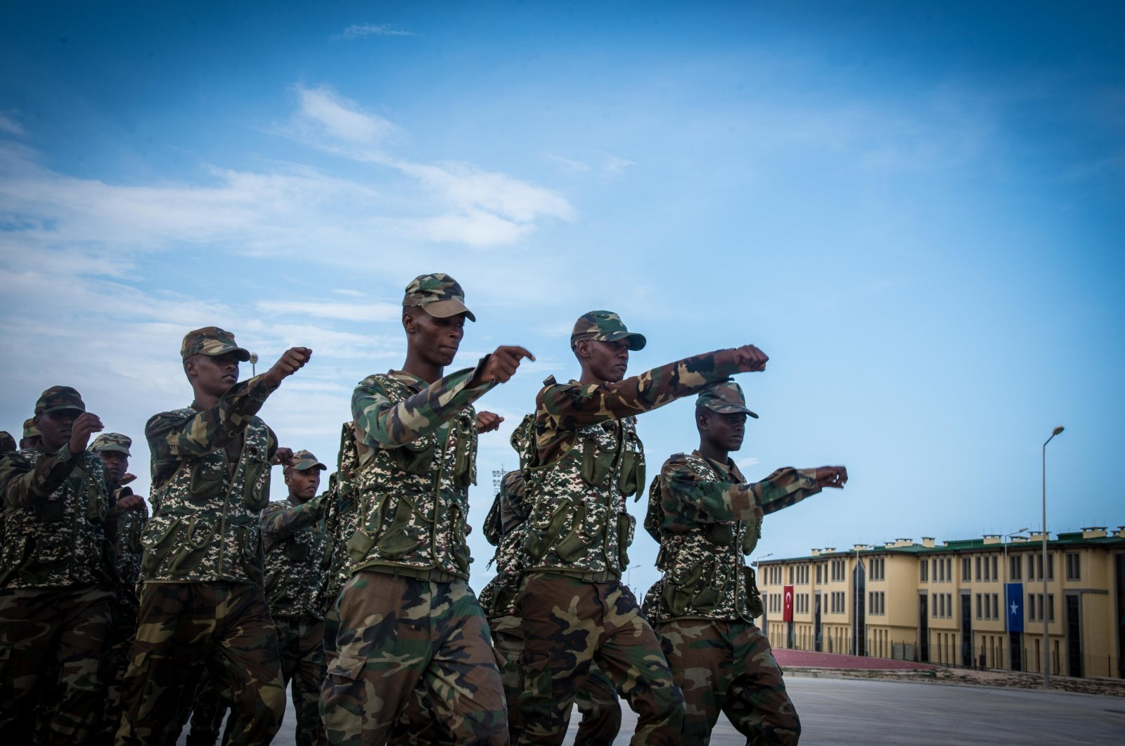 This undated file photo shows Somali troops marching at a military camp. (Fotoarsiv Photo)