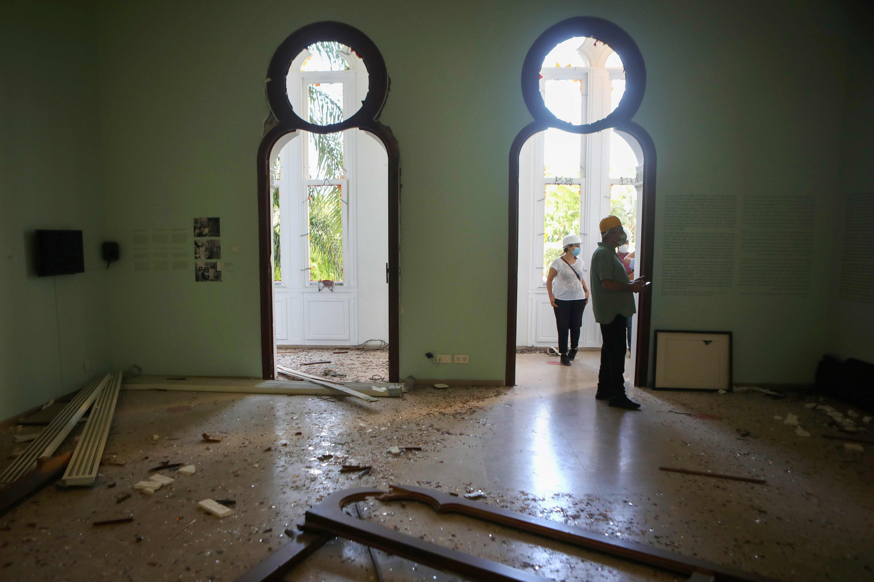 Staff inspect the damage at the Sursock Museum in the Lebanese capital Beirut on August 5, 2020. (AFP PHOTO)