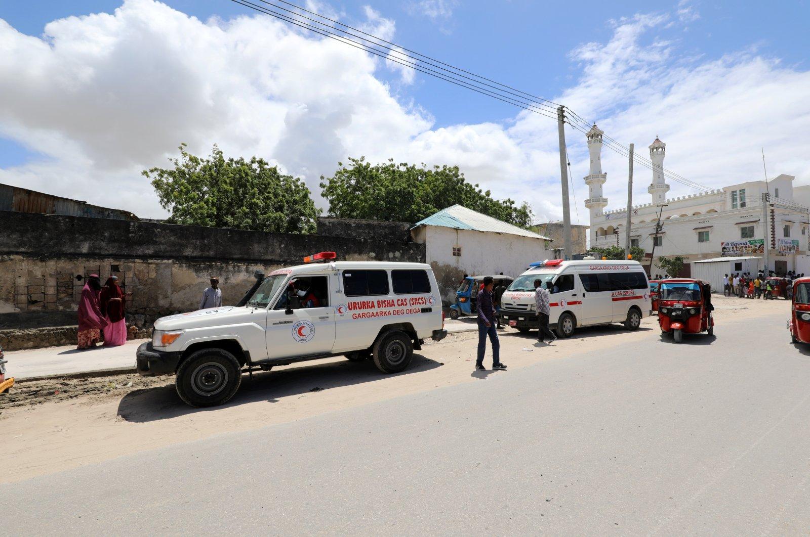 An ambulance is seen near a blast site that rocked a military base in Mogadishu, Somalia, Aug. 8, 2020. (REUTERS Photo)
