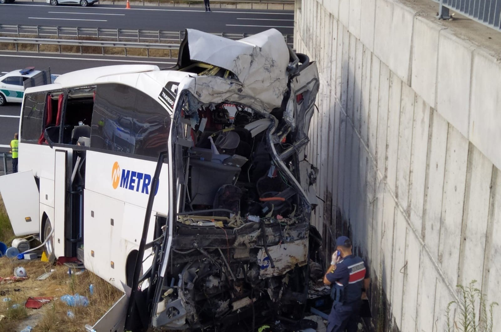 A passenger bus crashed into the wall of an overpass in North Marmara Highway in Istanbul, Turkey, Aug. 9, 2020. (IHA Photo)