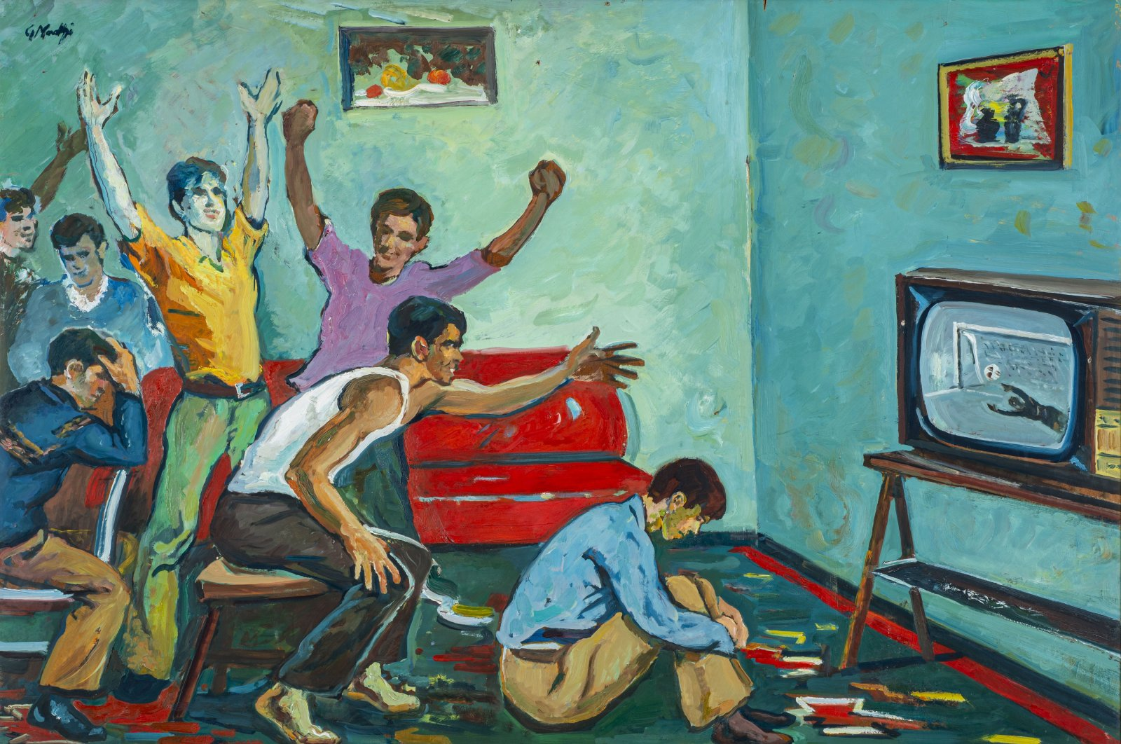 """Guri Madhi, """"When We Don't Go to the Stadium"""", 1986, oil on wood, 86 by 123 centimeters. (Courtesy of Pera Museum)"""