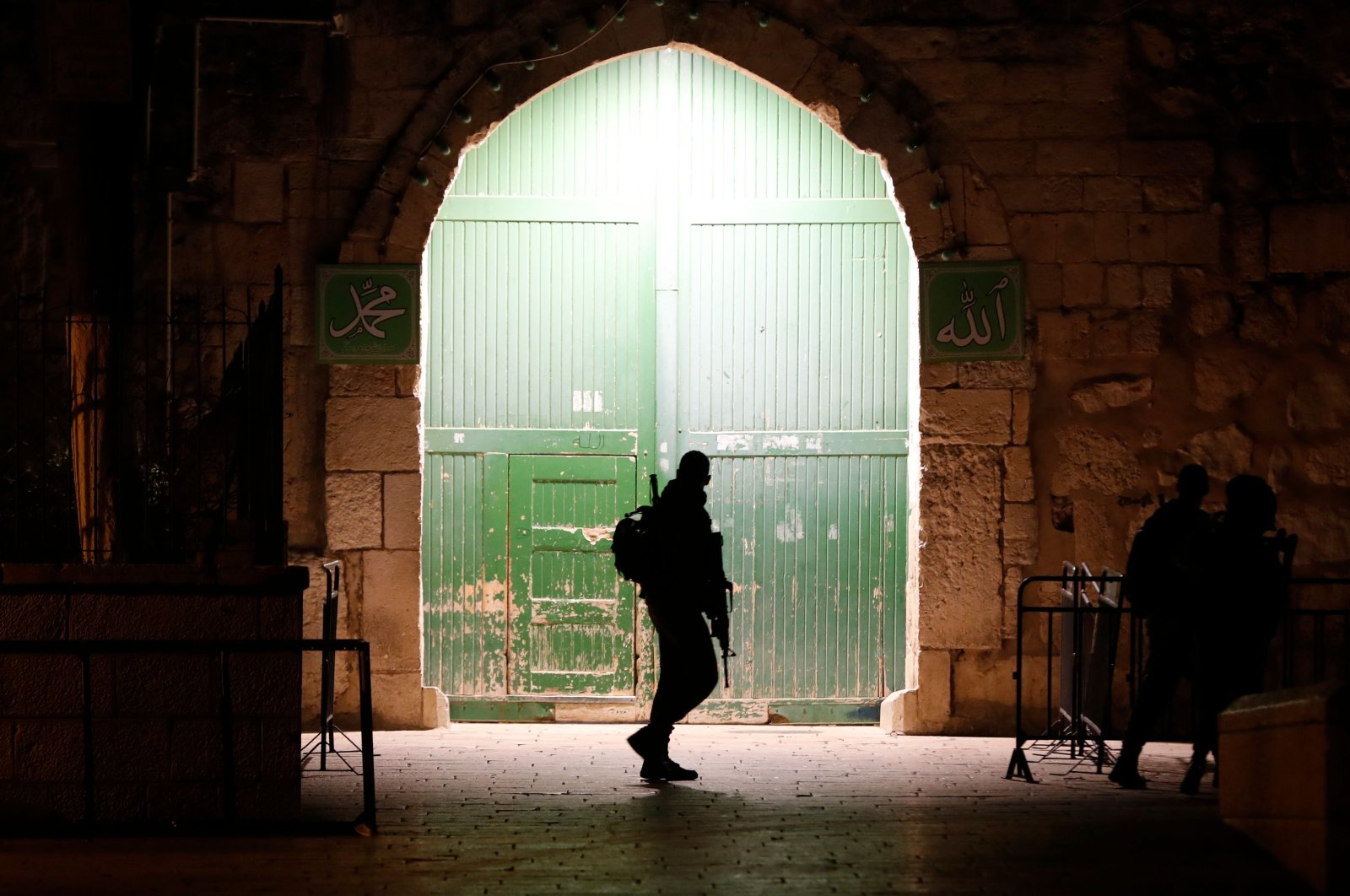 Israeli soldier during a patrol at an entrance to the al-Aqsa compound in Jerusalem's Old City, Feb. 19, 2019. (AFP Photo)
