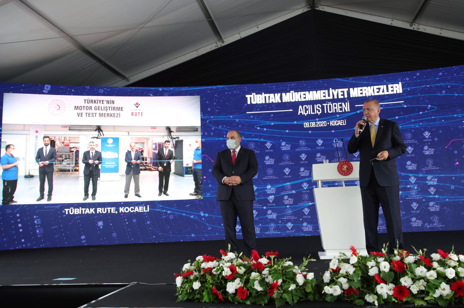 President Recep Tayyip Erdoğan speaks at the inauguration ceremony of TÜBITAK Centers of Excellence and Kocaeli University Health Facilities and Research Center in Gebze on Sunday, Aug. 9, 2020 (AA Photo)