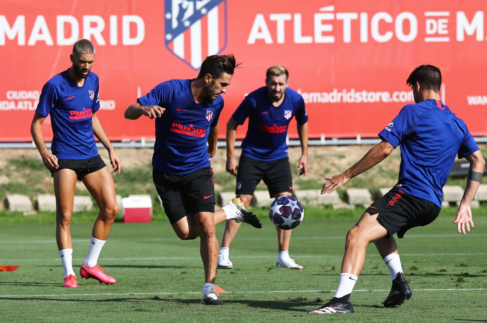 La Liga football club Atletico Madrid players kick a ball during a training session in Madrid, Spain, Aug. 7, 2020. (Atletico Madrid handout photo via EPA)