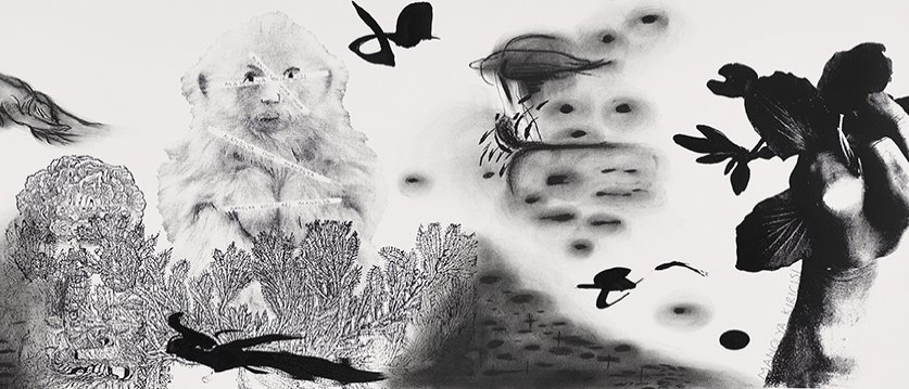 """İnci Eviner, """"Magnolia Crusher"""" 2020, 45 by 230 centimeters, ink, charcoal pencil and silkscreen on paper. (Courtesy of Galeri Nev Istanbul)"""