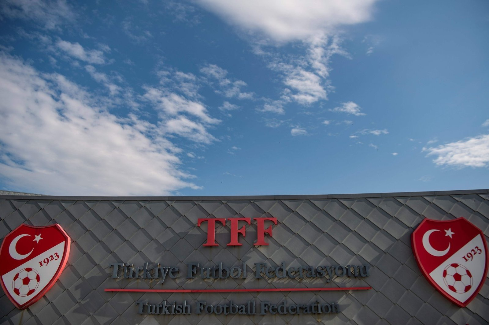 The logo of the Turkish Football Federation (TFF) at the entrance of the organization's headquarters in Istanbul, Turkey, May 6, 2020. (AFP Photo)