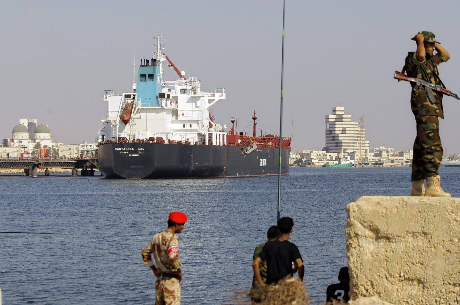 The tanker Cartagena docked in the sea port of Benghazi, Libya, Thursday, Aug. 4, 2011 (AP File Photo)
