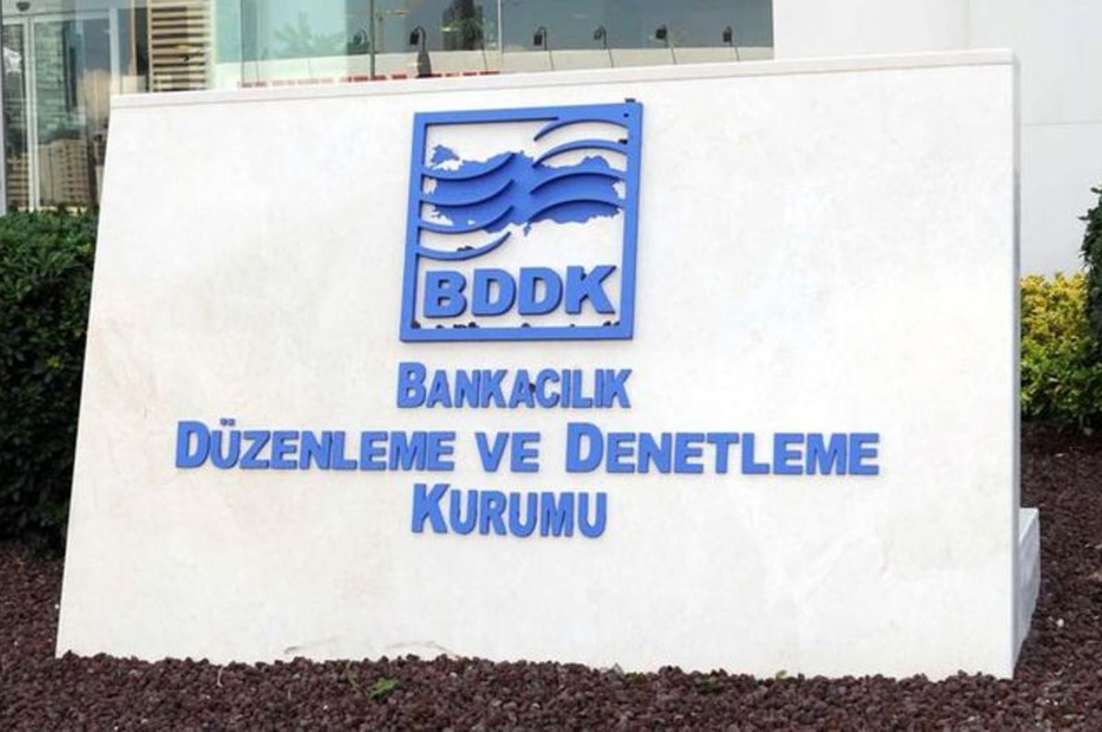 The Banking Regulation and Supervision Agency's (BDDK) logo is seen in front of its headquarters in Istanbul, Turkey, Jan. 21, 2017. (File Photo)