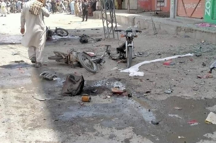 The scene of a deadly bombing at a market in Balochistan province, Pakistan, Aug. 10, 2020. (IHA Photo)