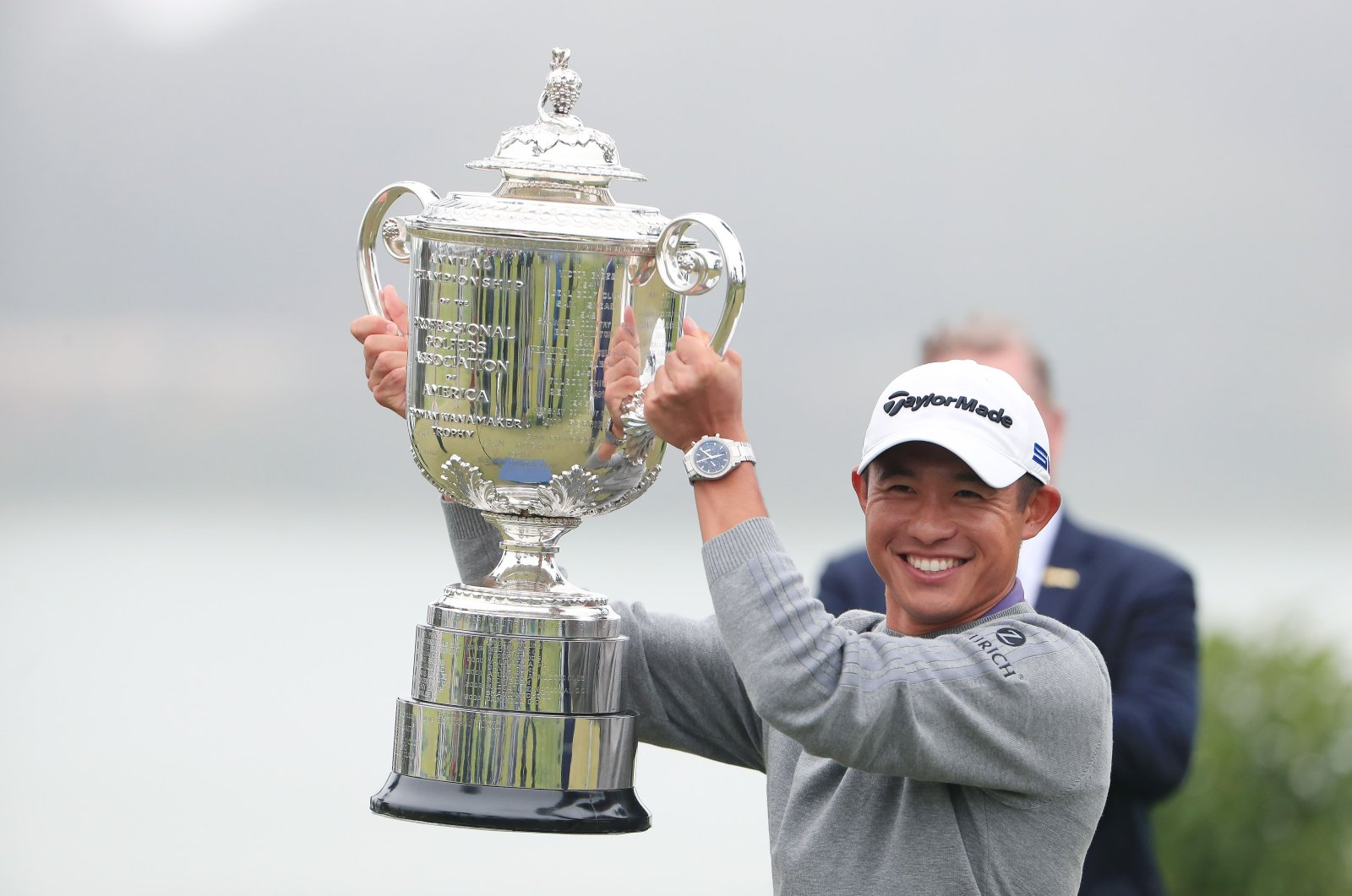 Collin Morikawa celebrates with the Wanamaker Trophy after winning during the final round of the 2020 PGA Championship in San Francisco, U.S., Aug. 9, 2020. (AFP Photo)