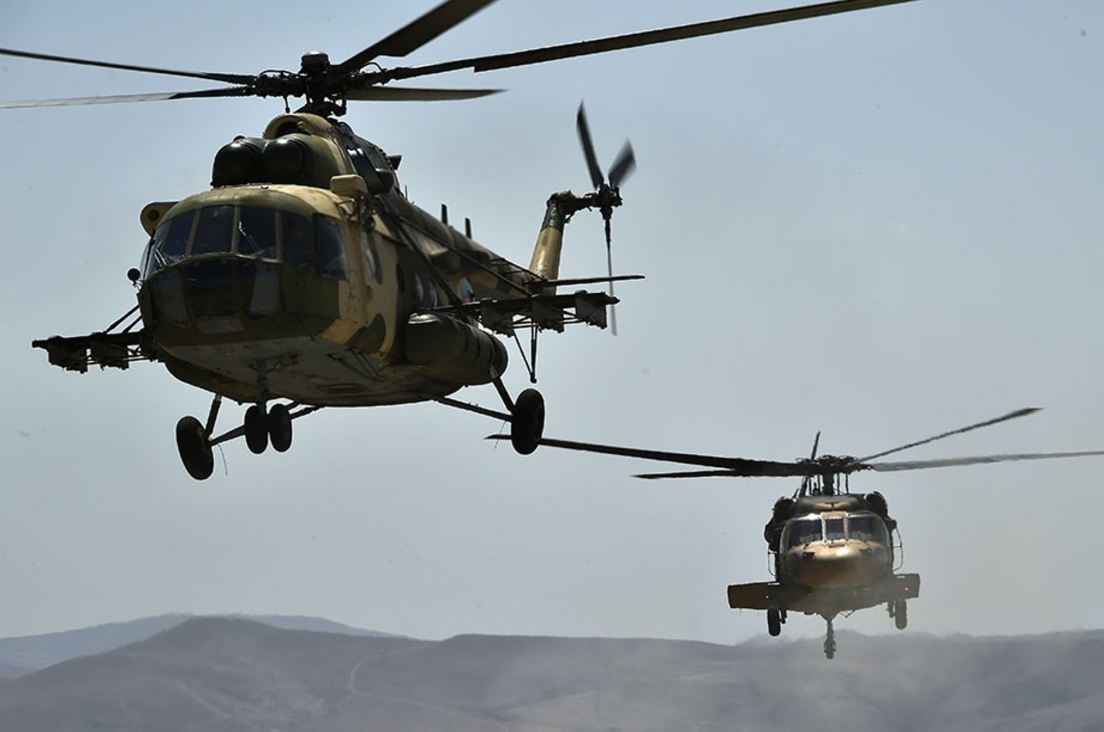 Helicopters carry out drills during joint military exercises conducted by the Turkish and Azerbaijani armed forces in Azerbaijan, Aug. 9, 2020. (AA Photo)