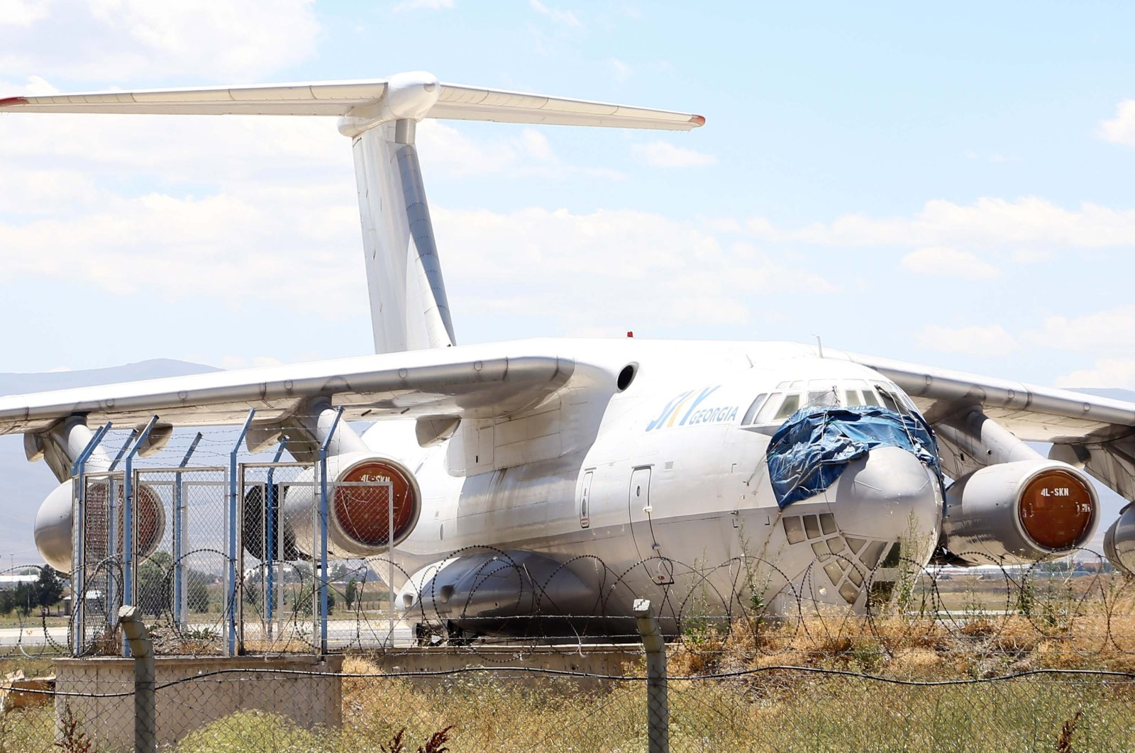 The stranded Il-76TD belonging to Sky Georgia sits at the airport in Erzurum, eastern Turkey, Aug. 10, 2020. (AA Photo)