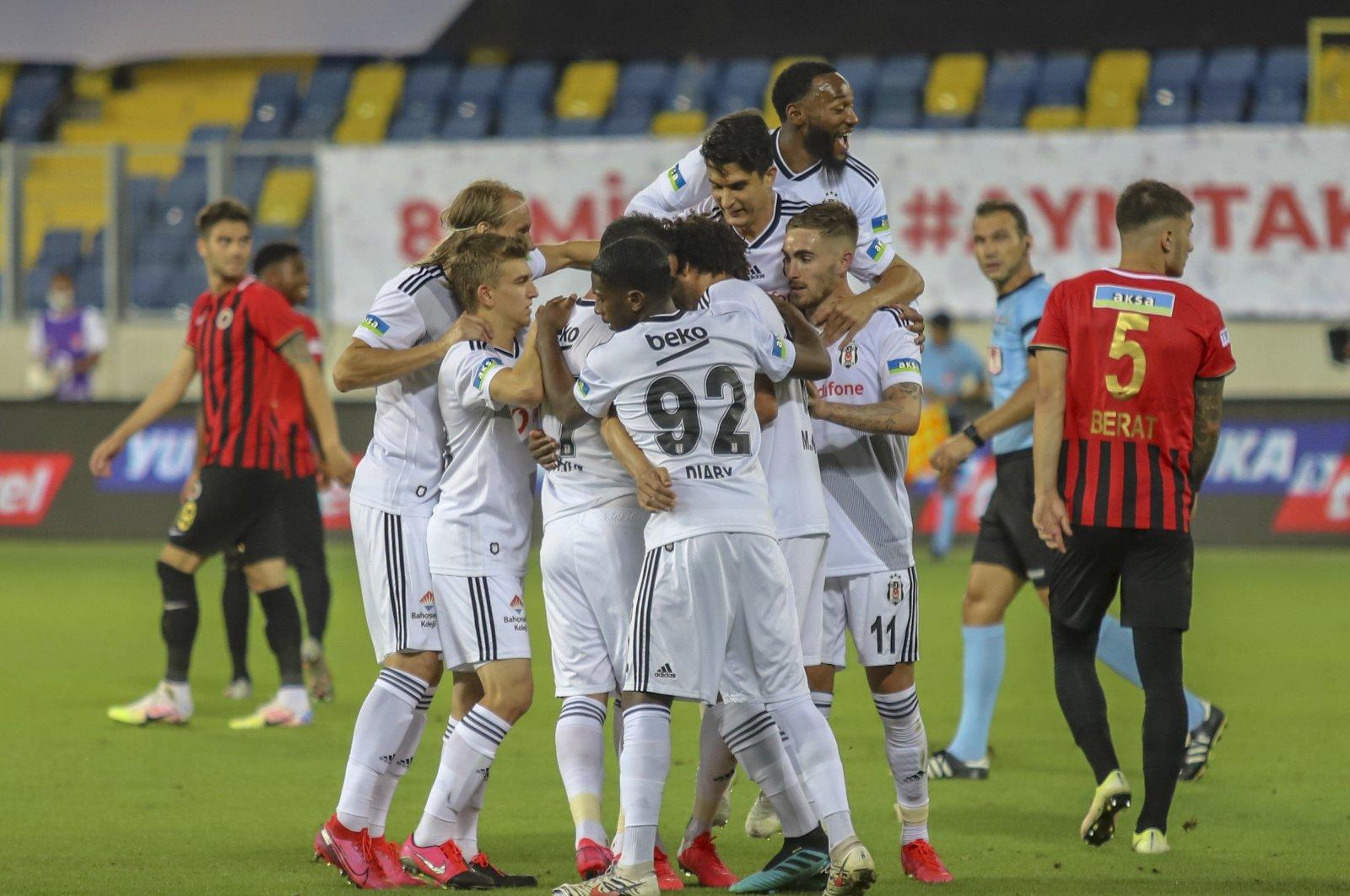 Beşiktaş players celebrate after defeating Gençlerbirliği 3-0 in Ankara, Turkey, July 25, 2020. (IHA Photo)