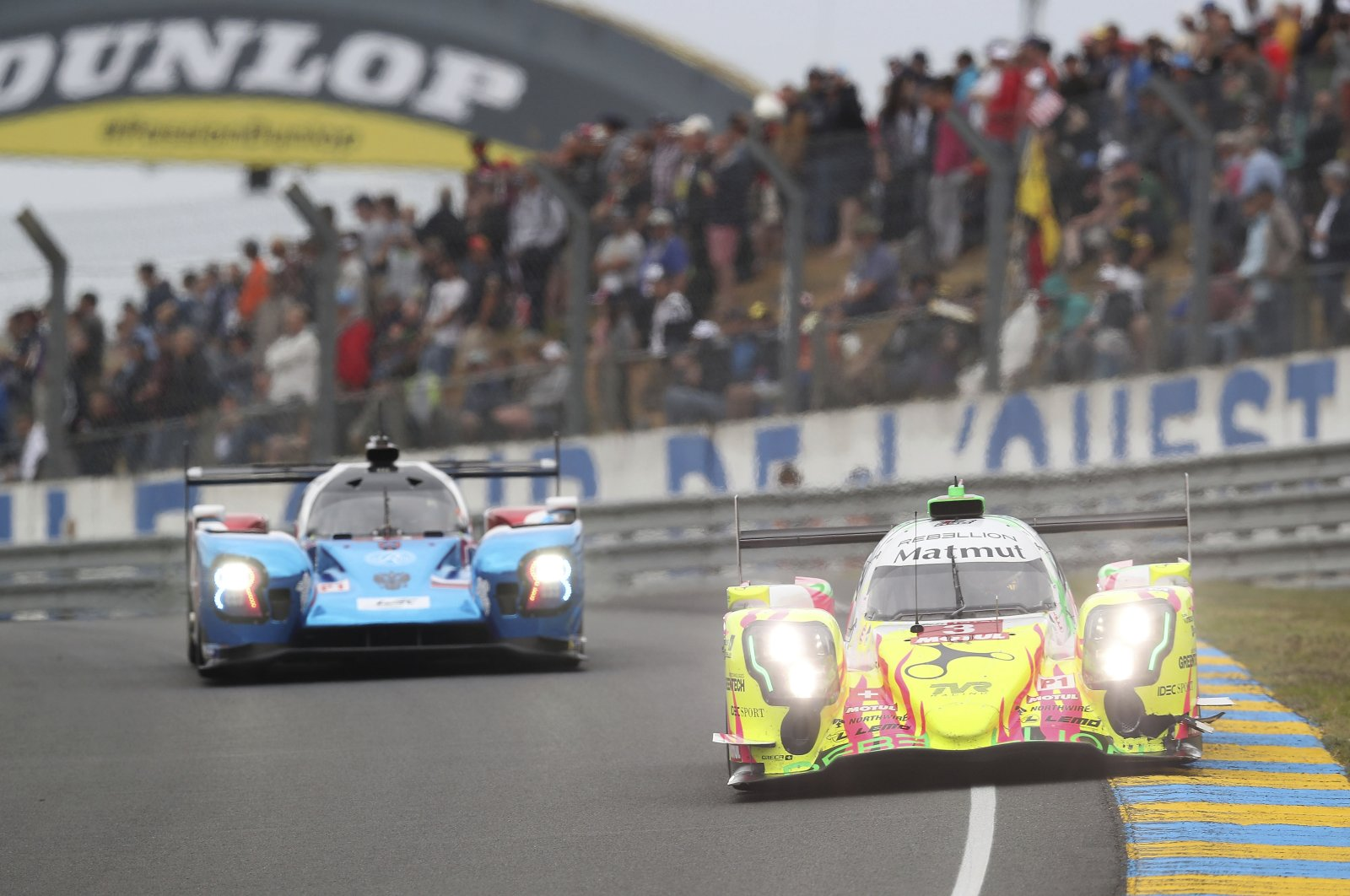 Rebellion Racing Team driven by Thomas Laurent, Nathanael Berthon and Gustavo Menezes in action during the 87th 24-hour Le Mans endurance race, in Le Mans, France, June 15, 2019. (AP Photo)