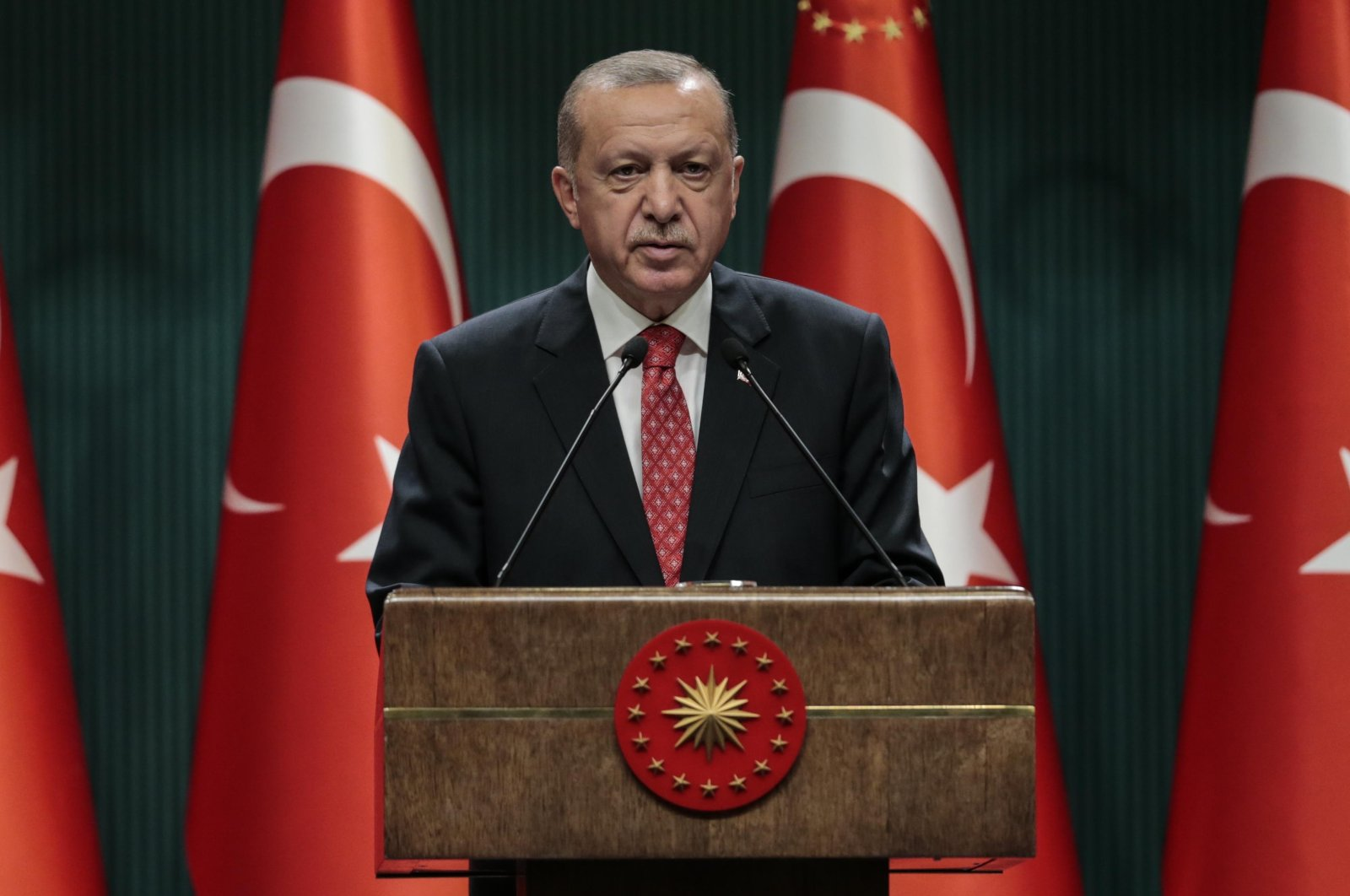 President Recep Tayyip Erdoğan speaks to members of the press after a cabinet meeting at the Presidential Complex in Ankara on August 10, 2020. (AA Photo)