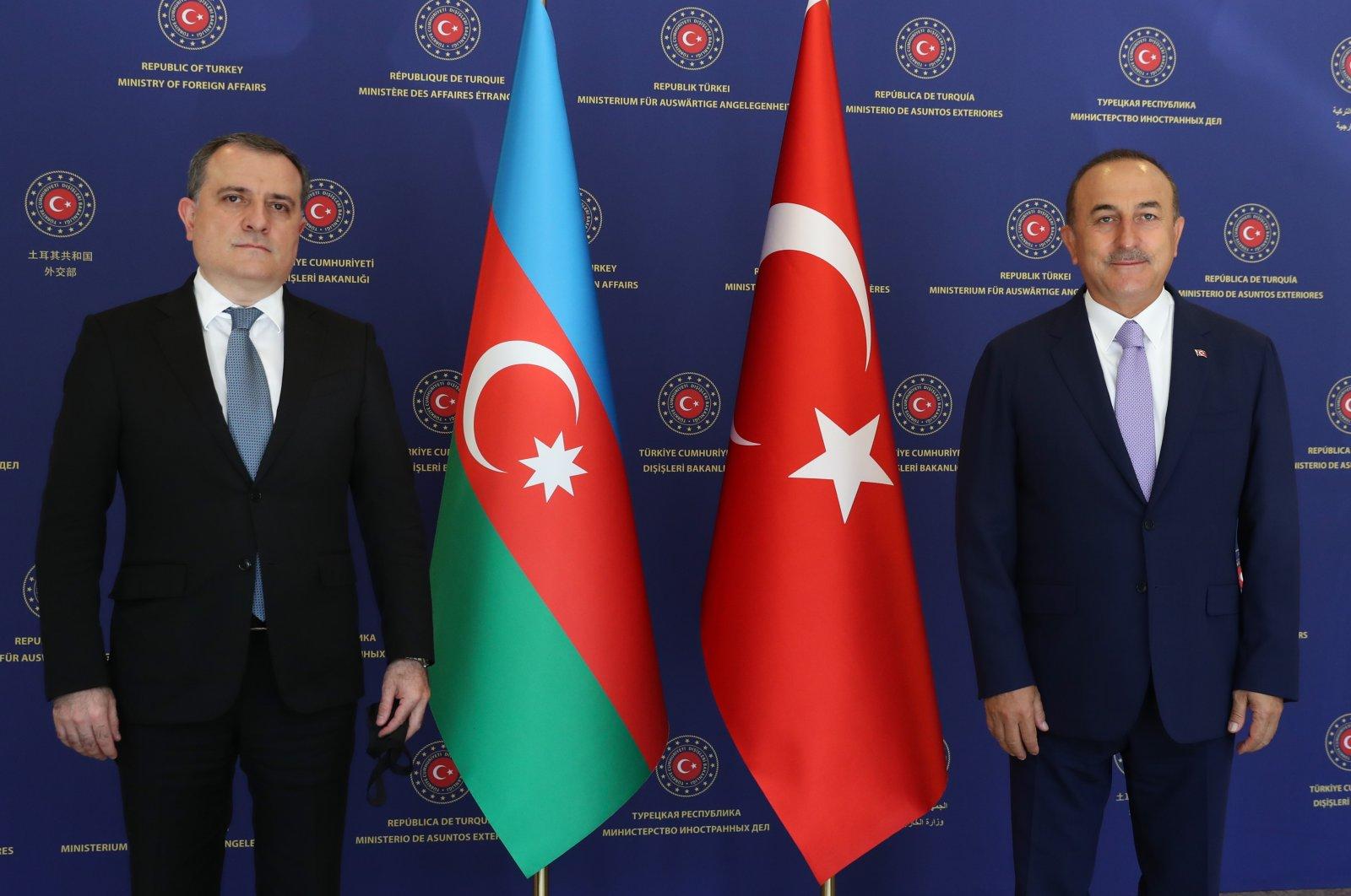 Foreign Minister Mevlüt Çavuşoğlu with Azerbaijani Foreign Minister Jeyhun Bayramov in Ankara, Aug. 11, 2020. (AA Photo)