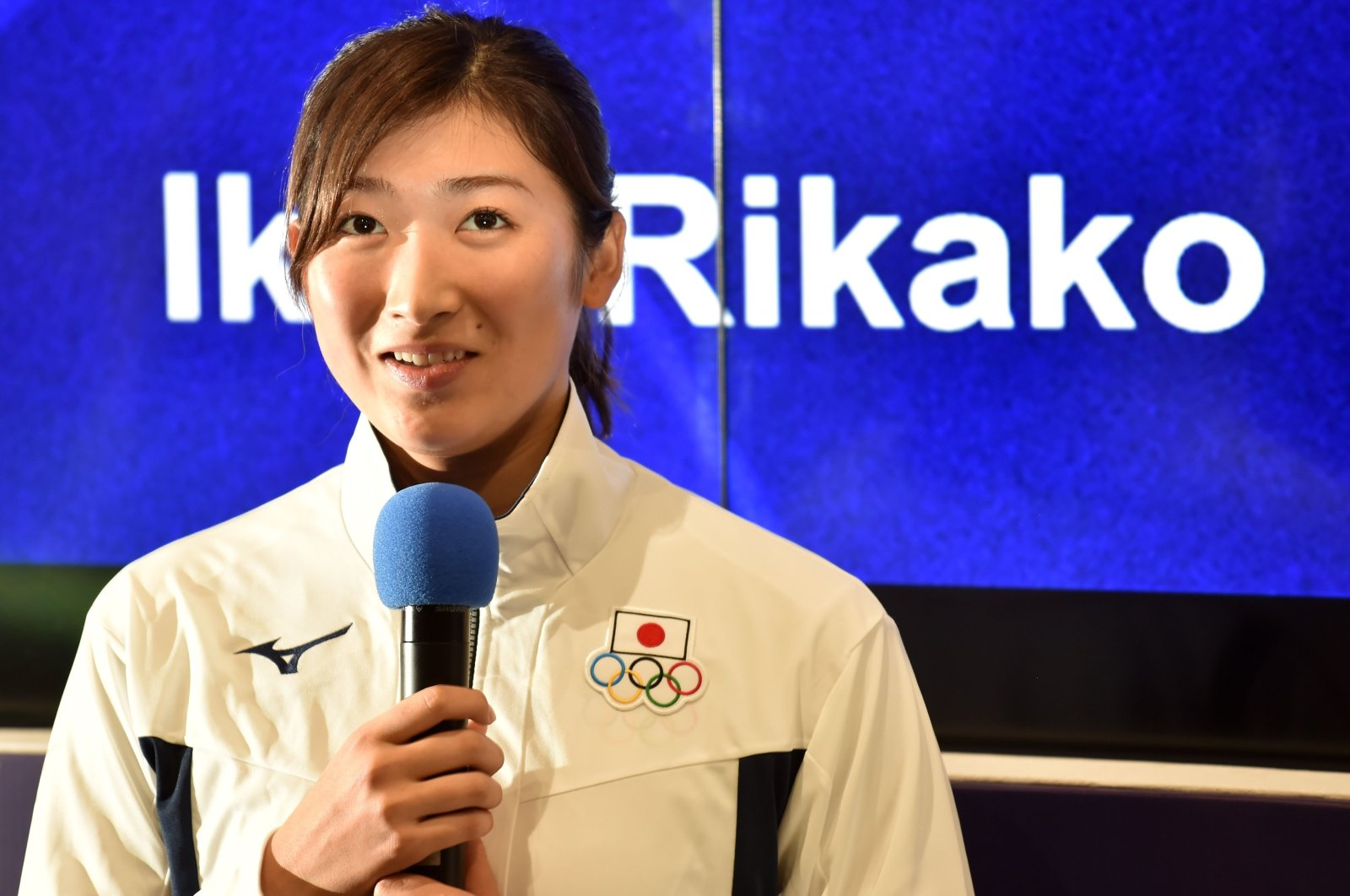 Ikee Rikako speaks at an awards ceremony in Jakarta, Indonesia, Sept. 2, 2018. (AFP Photo)