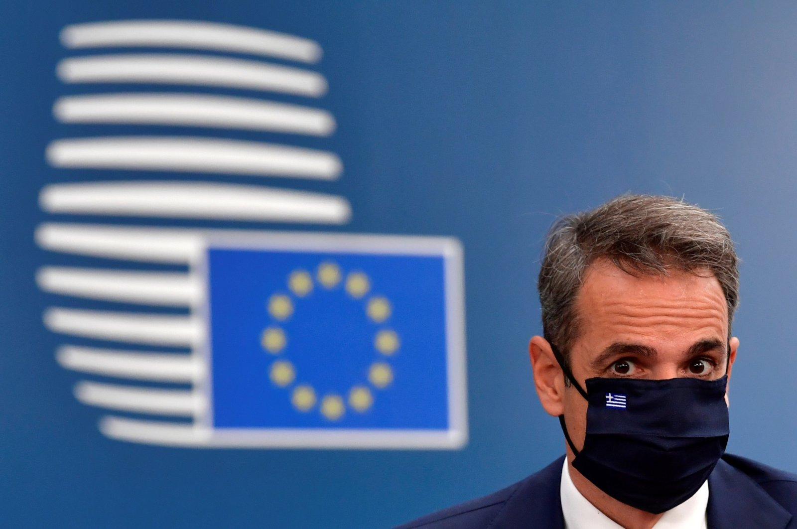 Greece's Prime Minister Kyriakos Mitsotakis arrives for the first face-to-face EU summit since the coronavirus disease (COVID-19) outbreak, in Brussels, Belgium July 19, 2020. (Reuters File Photo)
