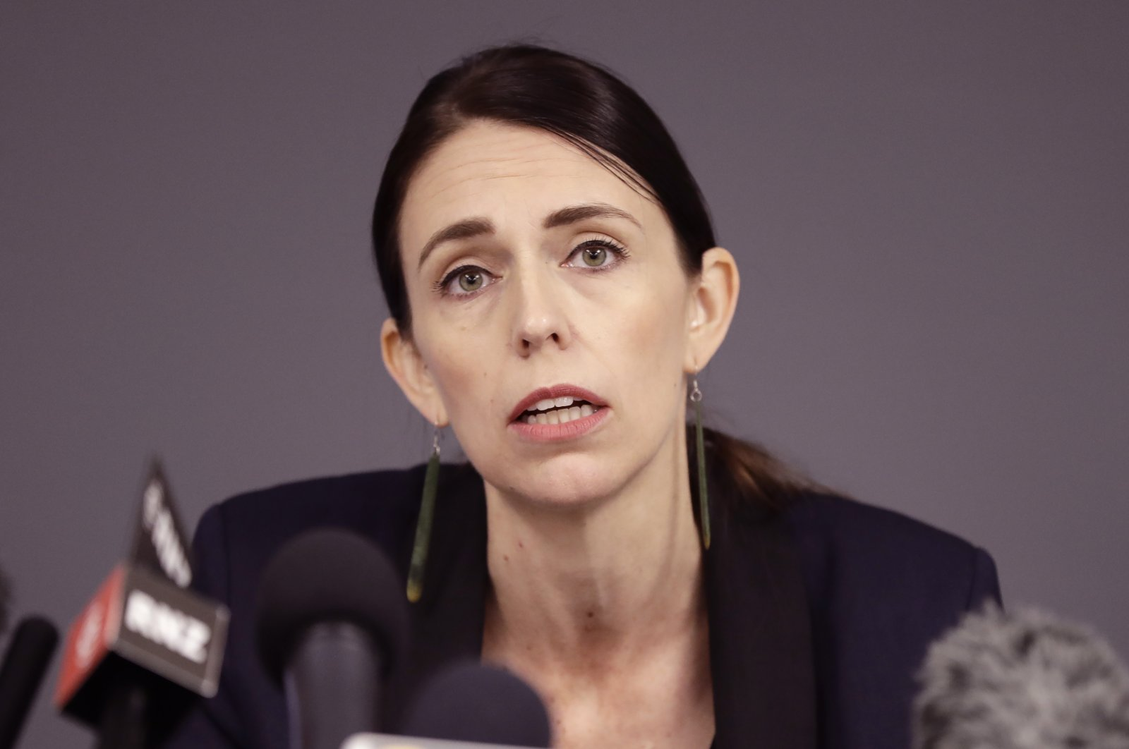 New Zealand Prime Minister Jacinda Ardern holds a news conference in Whakatane, New Zealand, Dec. 10, 2019. (AP Photo)