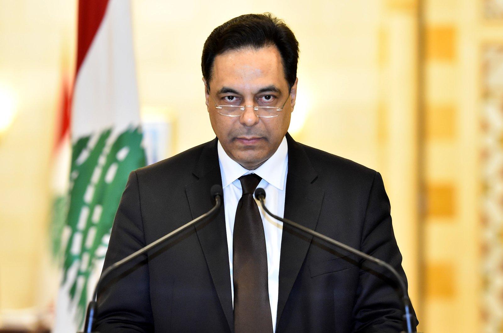 Lebanese Prime Minister Hassan Diab delivers a resignation speech, Beirut, Lebanon, Aug. 10, 2020.  (EPA Photo)