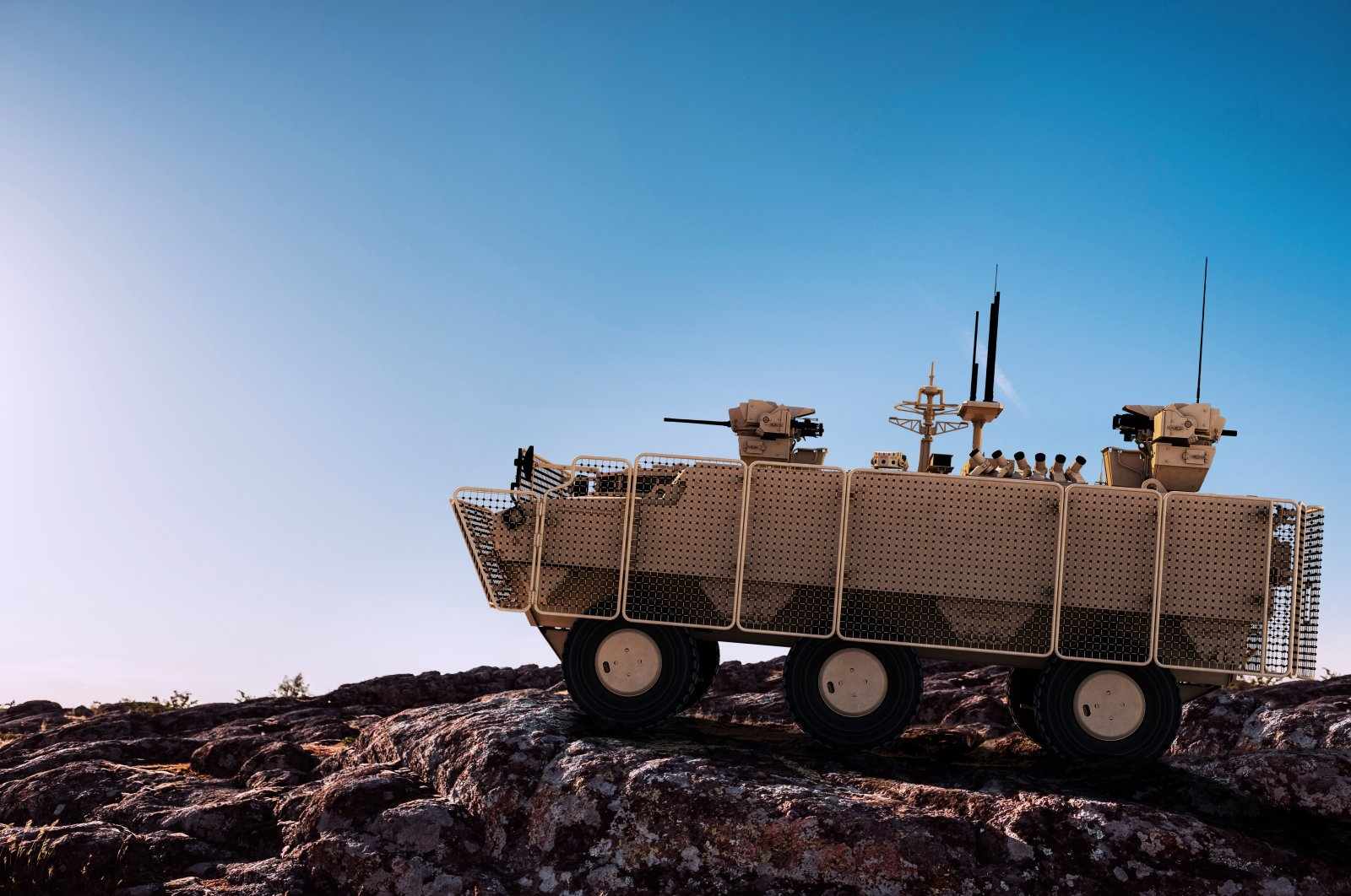 The PARS 6x6 Mine Protected Vehicle produced by the Turkish defense company FNSS. (Photo Courtesy of the Presidency of Defense Industries via AA)