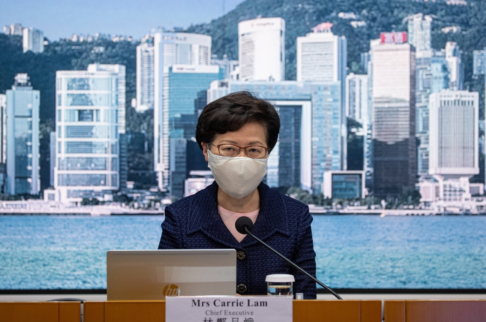 Hong Kong Chief Executive Carrie Lam speaks during a press conference in Hong Kong, China, 31 July 2020. (EPA-EFE Photo)