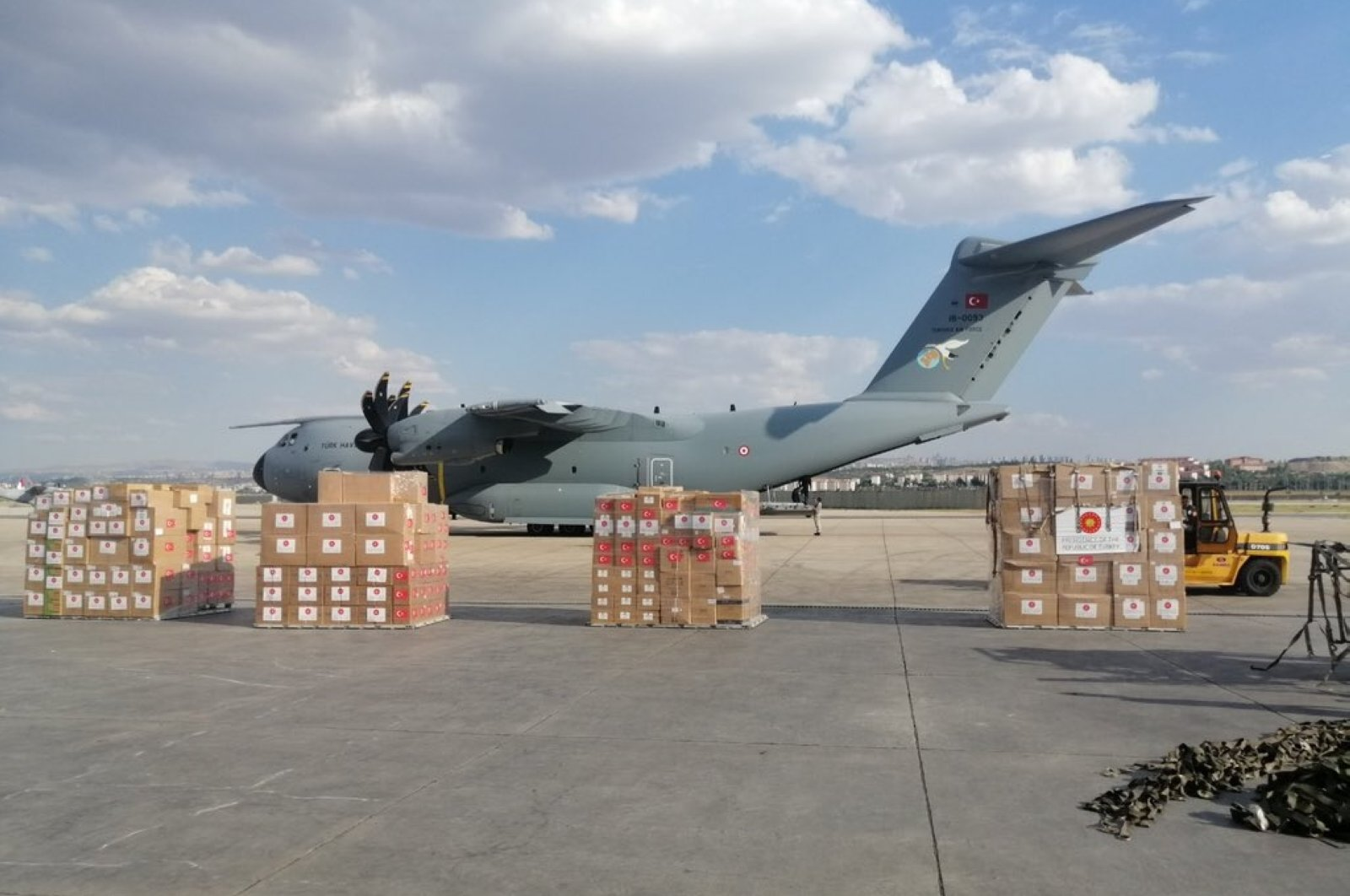 A Turkish Armed Forces A400M aircraft at Etimesgut Airport before it took off for Lebanon to deliver medical aid, Ankara, Turkey, Aug. 11, 2020. (Defense Ministry via AA)