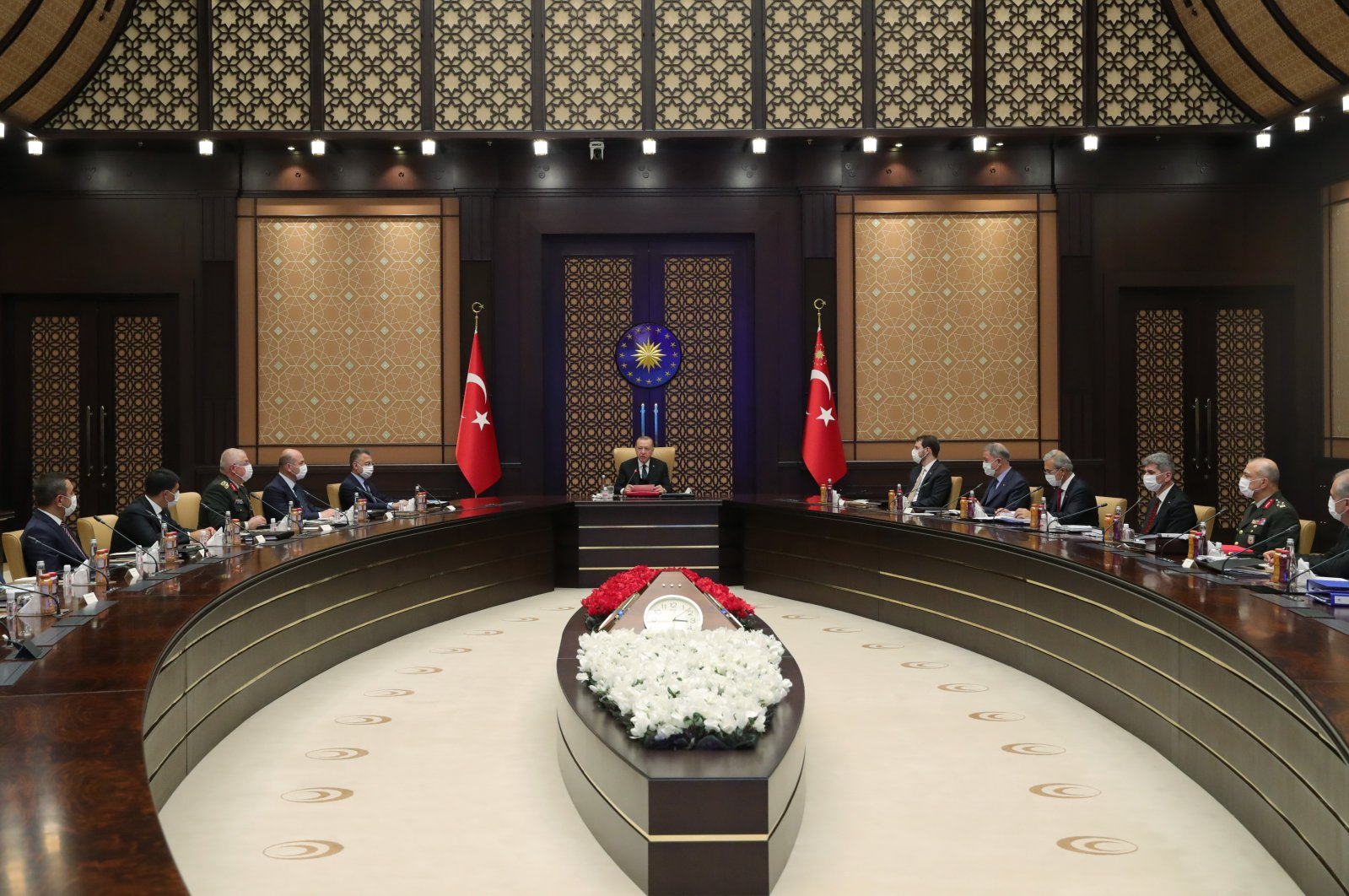 President Recep Tayyip Erdoğan and Turkish officials prior to a meeting of the Defense Industry Executive Committee, Ankara, Turkey, Aug. 11. 2020. (AA Photo)