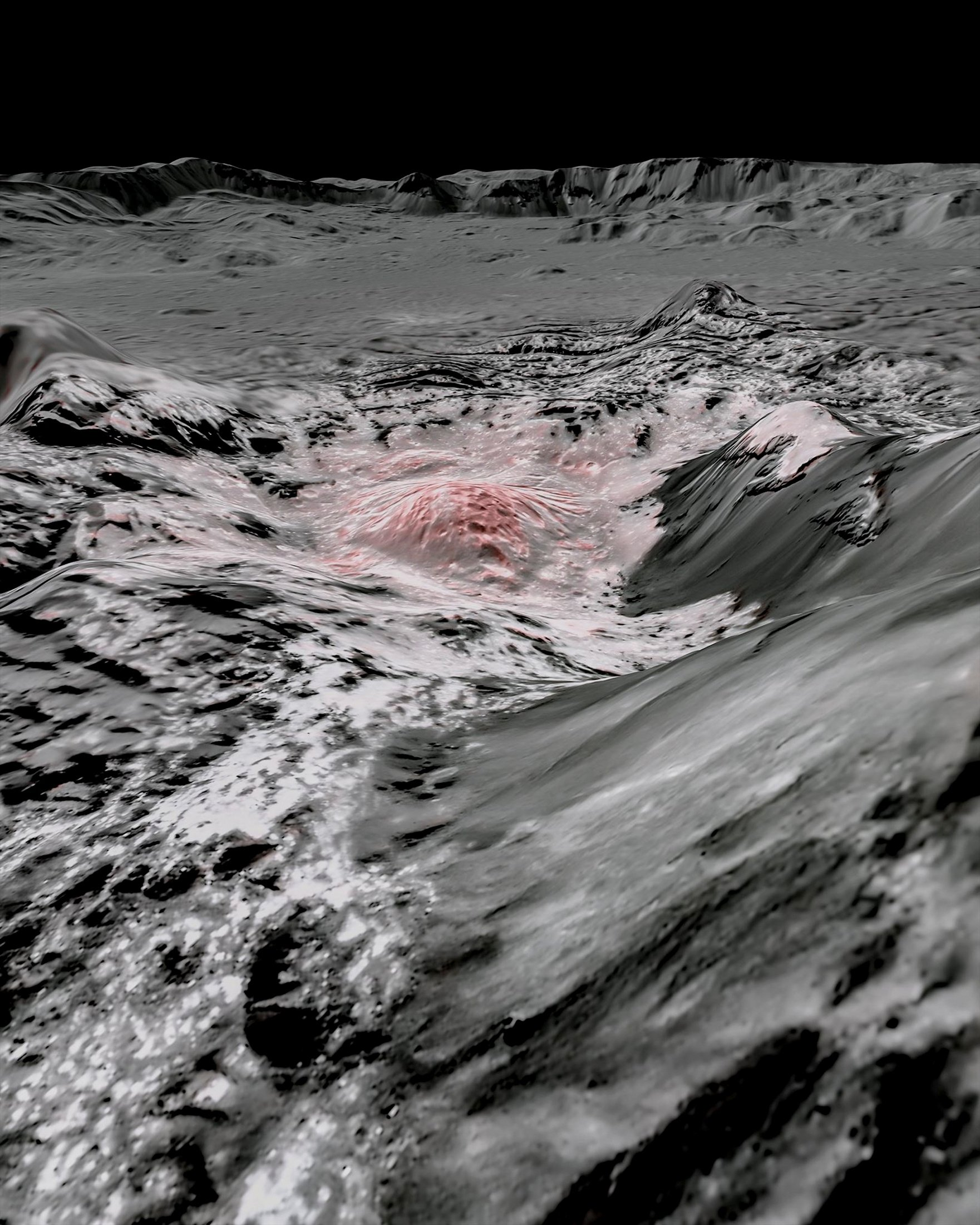 Mosaic image using false color to highlight the recently exposed brine, or salty liquids, that were pushed up from a deep reservoir under the crust of the dwarf planet Ceres. (NASA/JPL-Caltech/UCLA/MPS/DLR/IDA/Handout via REUTERS)