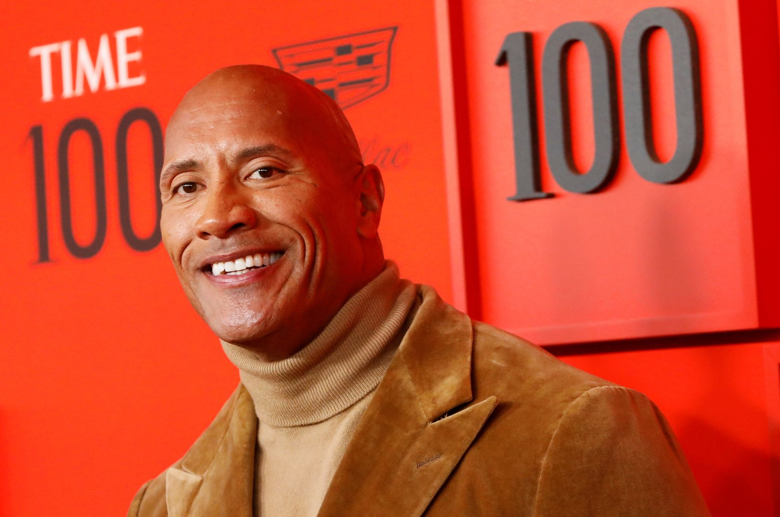 """Dwayne """"The Rock"""" Johnson poses upon arriving for the Time 100 Gala celebrating Time magazine's 100 most influential people in the world in New York City, New York, U.S., April 23, 2019. (Reuters Photo)"""