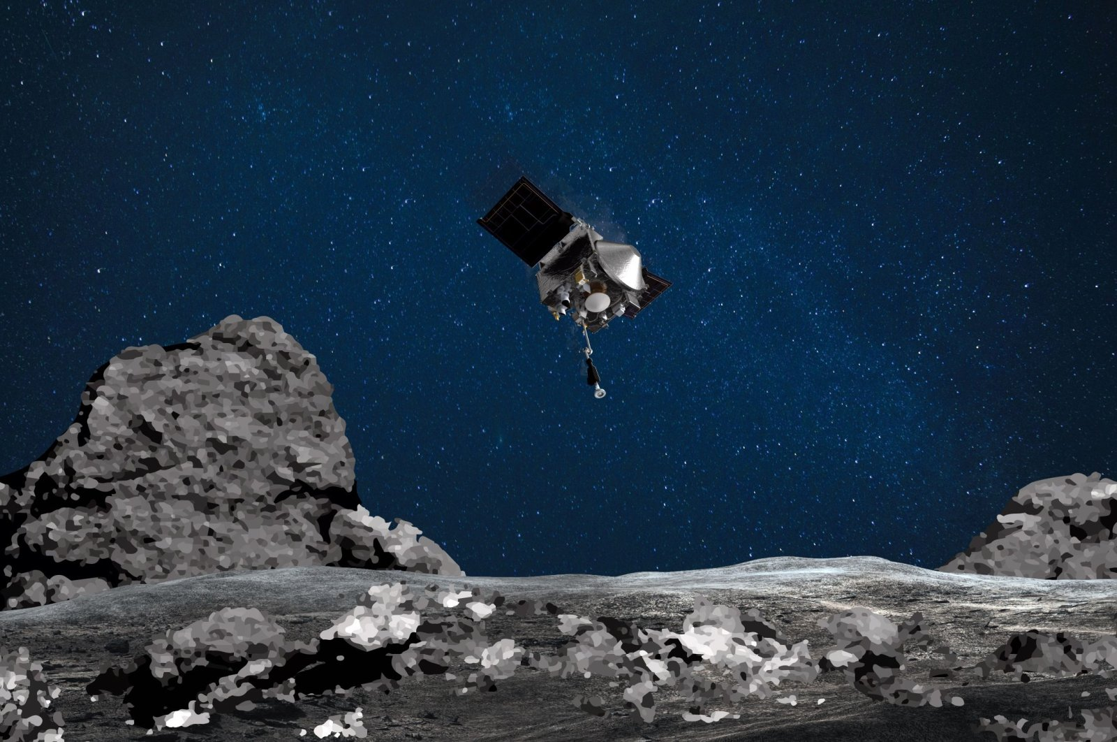 This NASA image shows an artist's rendering of the OSIRIS-REx spacecraft descending toward asteroid Bennu to collect a sample of the asteroid's surface, Aug. 11, 2020. (AFP Photo)