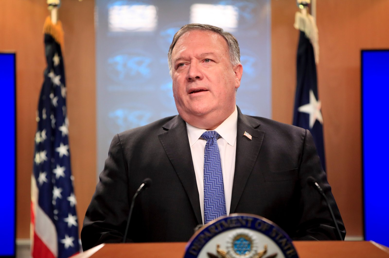 U.S. Secretary of State Mike Pompeo speaks during a news conference at the State Department, Washington, D.C., U.S., Aug. 5, 2020. (AFP Photo)