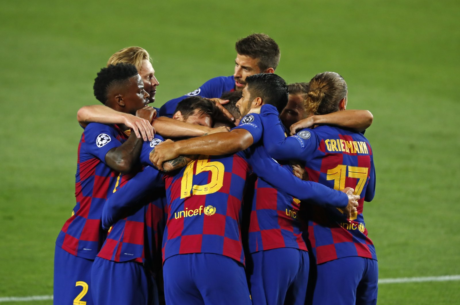 Barcelona players celebrate a goal during the Champions League match against Napoli in Barcelona, Spain, Aug. 8, 2020. (AP Photo)